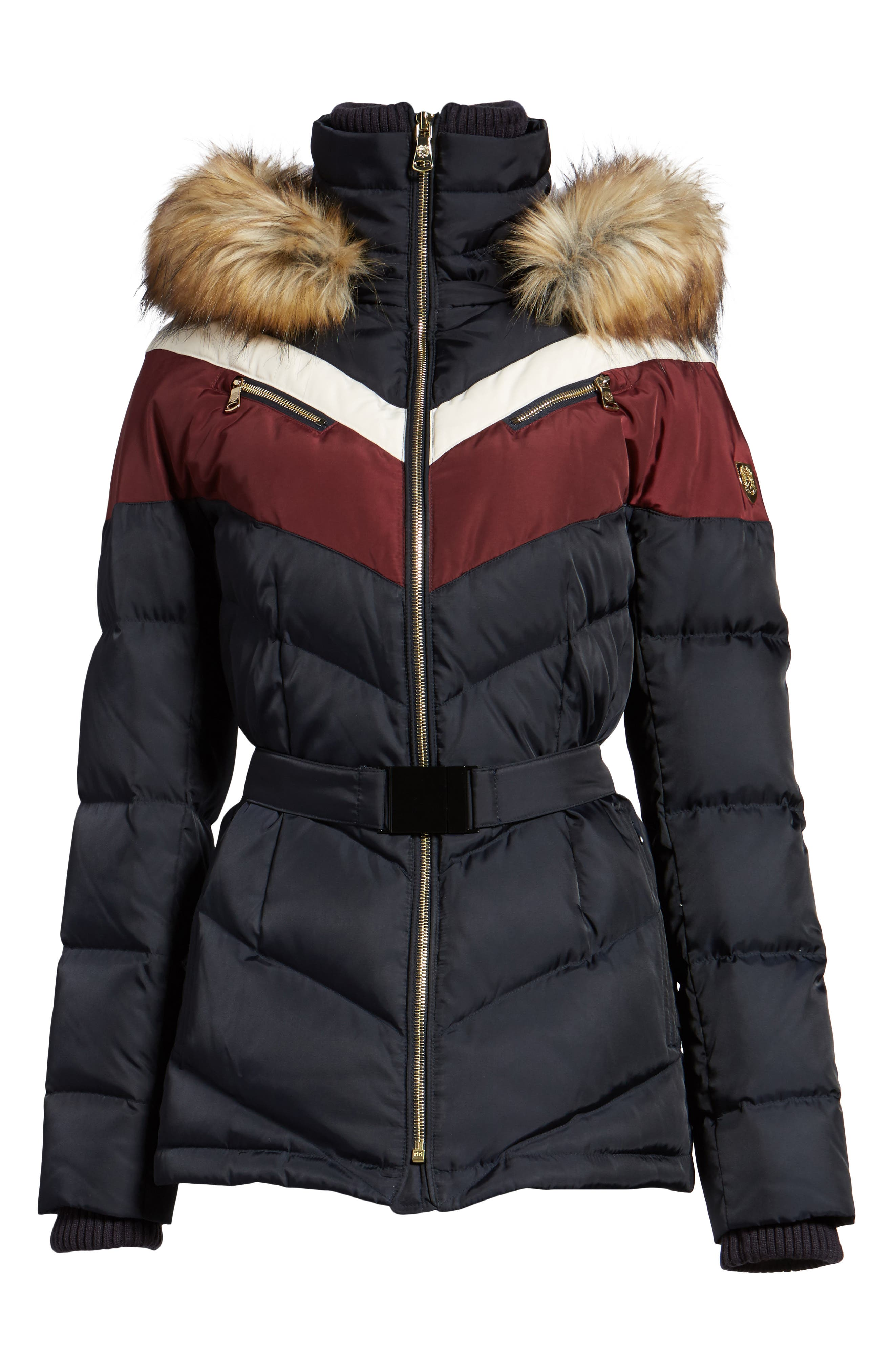 Belted Down & Feather Fill Coat with Faux Fur Trim Hood,                             Alternate thumbnail 6, color,                             Navy/Multi