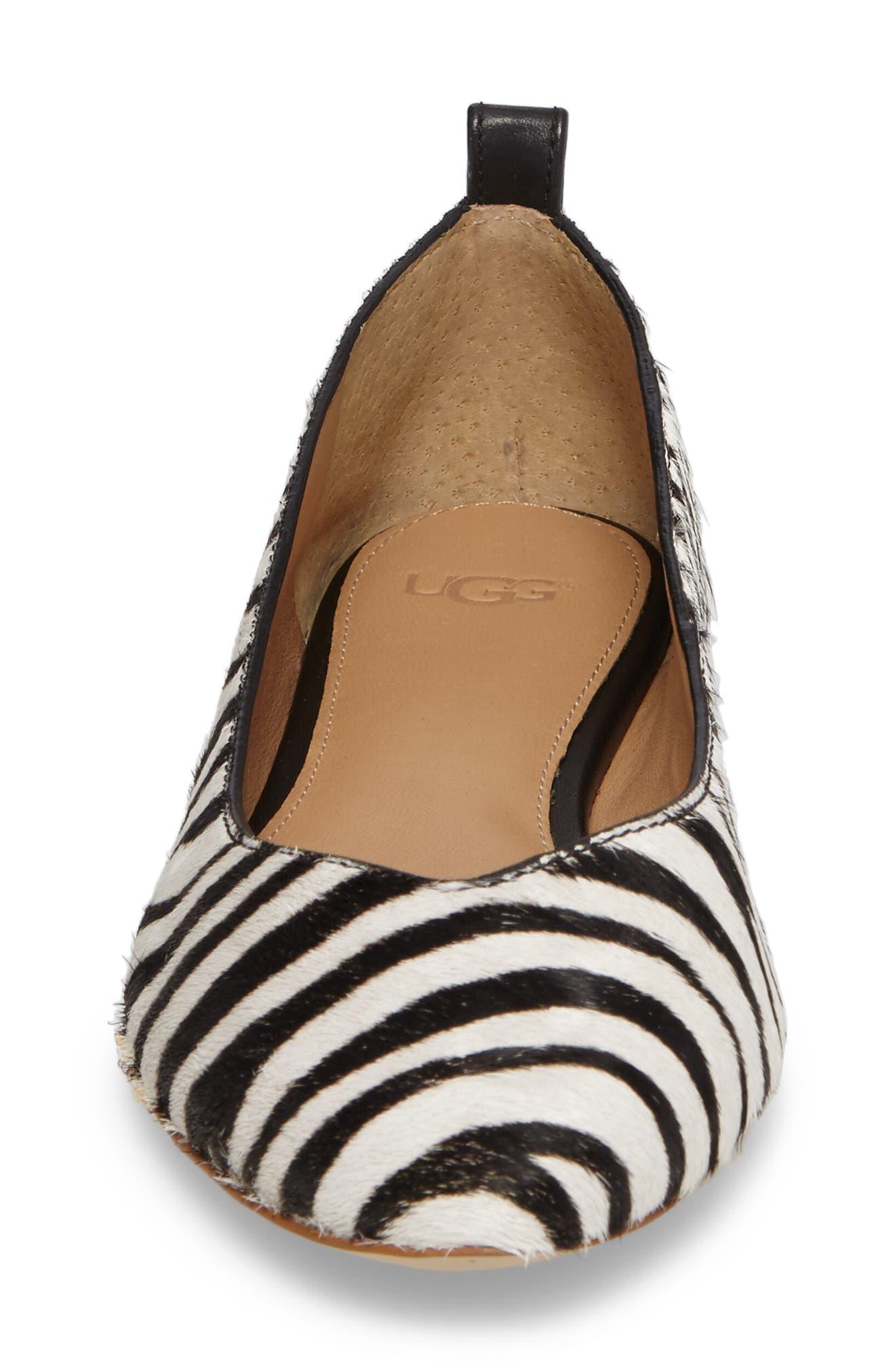 Lynley Genuine Calf Hair Flat,                             Alternate thumbnail 4, color,                             Zebra Calf Hair Leather