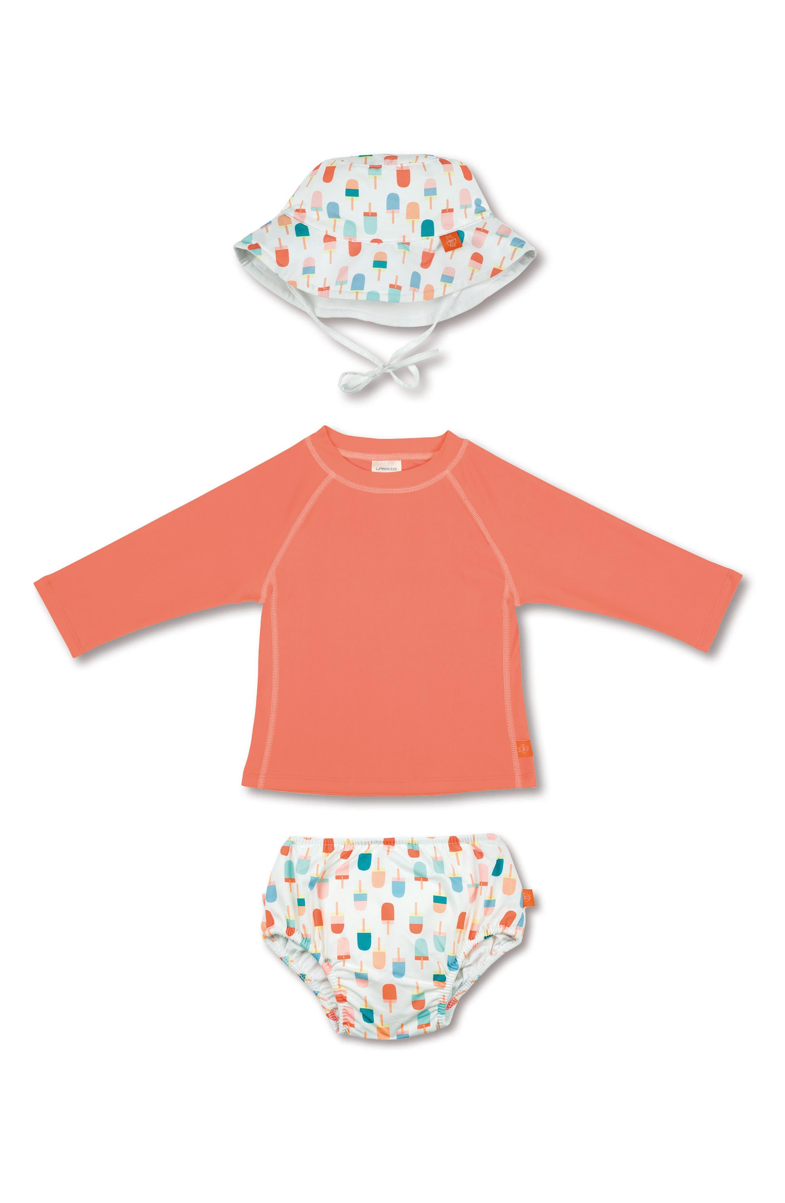 Main Image - Lassig Two-Piece Rashguard Swimsuit & Hat Set (Baby Girls & Toddler Girls)