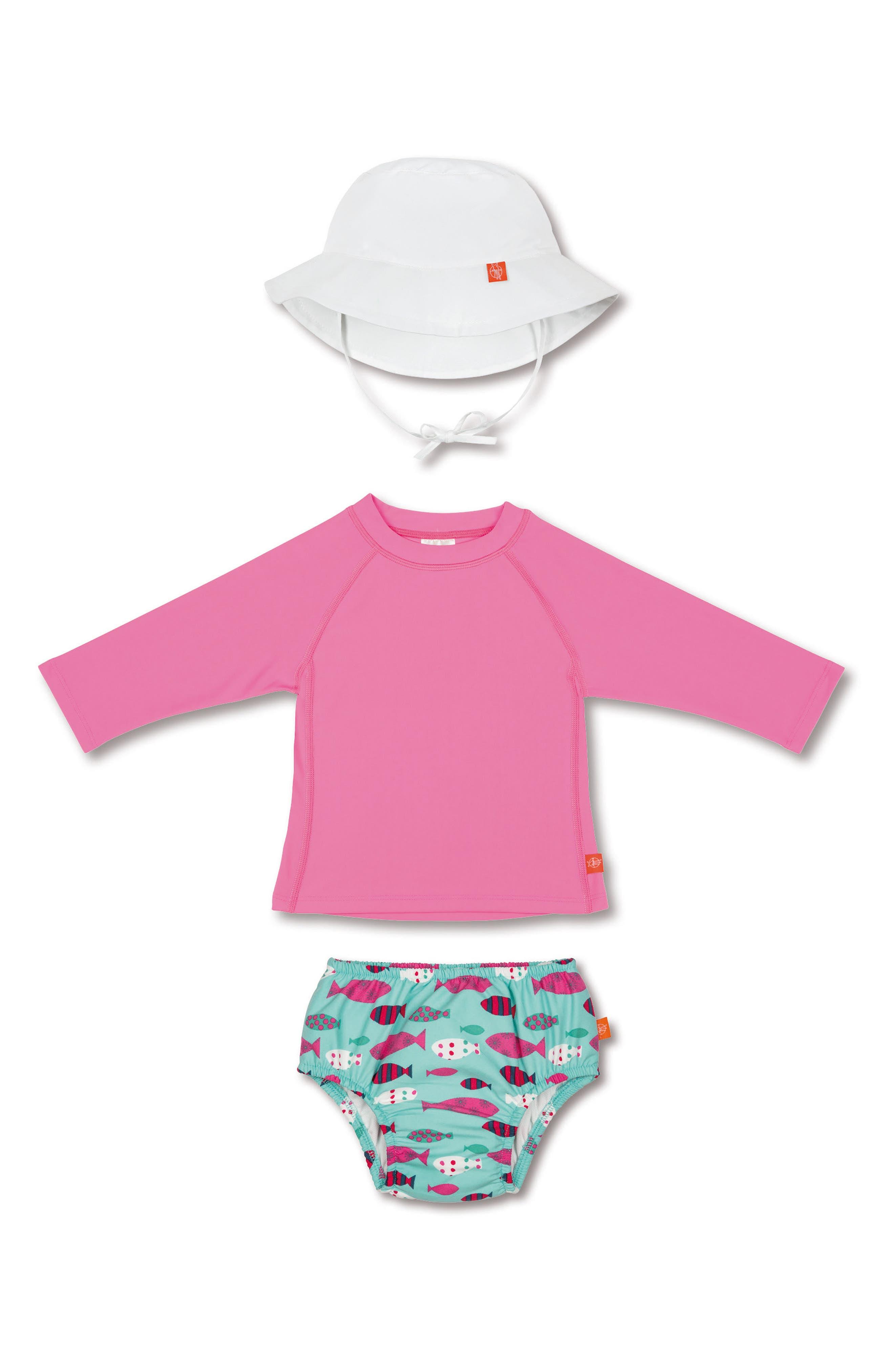 Lassig Two-Piece Rashguard Swimsuit & Hat Set,                         Main,                         color, Mr Fish