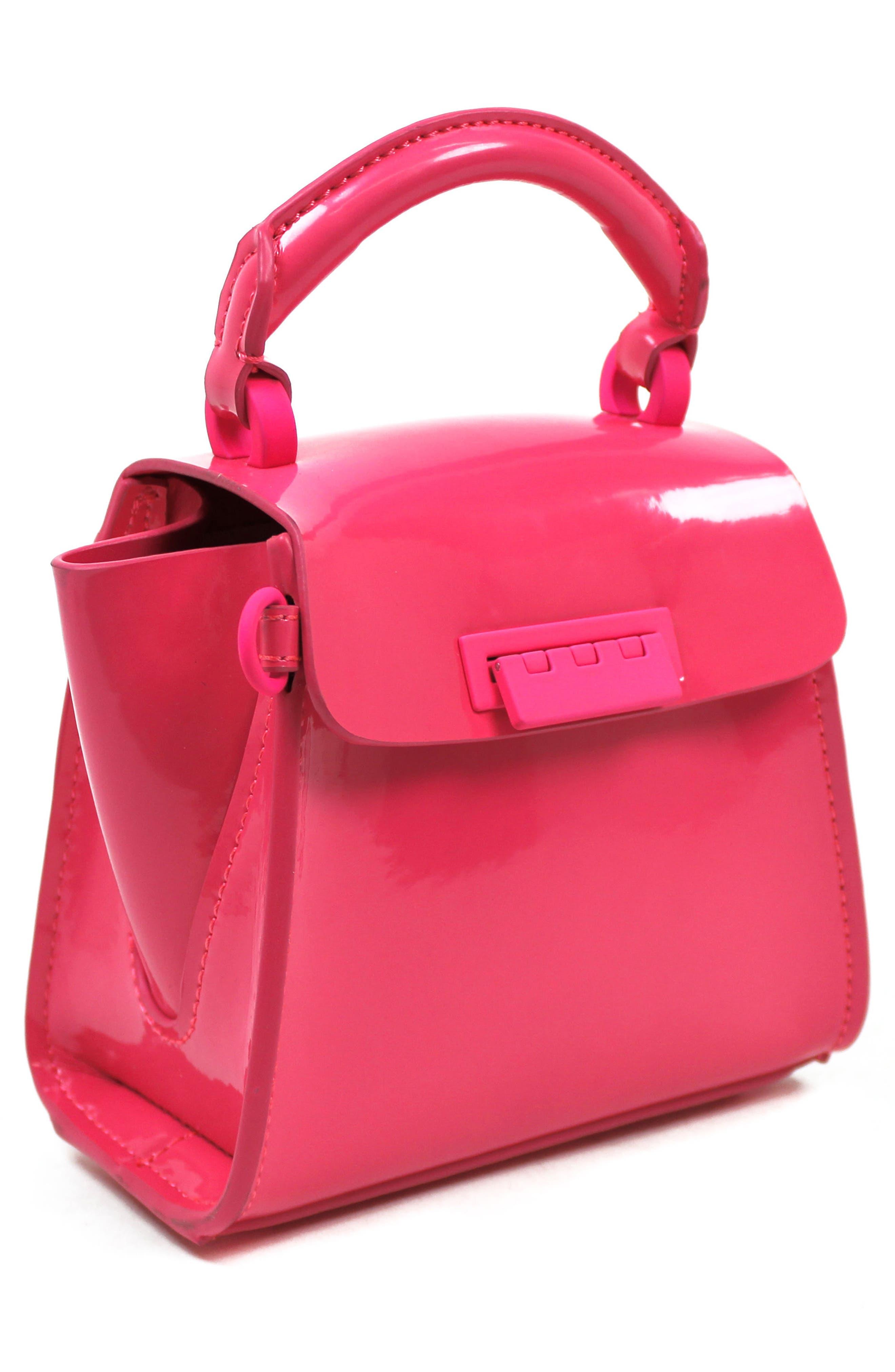 Eartha Iconic Patent Leather Mini Bag,                             Alternate thumbnail 4, color,                             Neon Pink