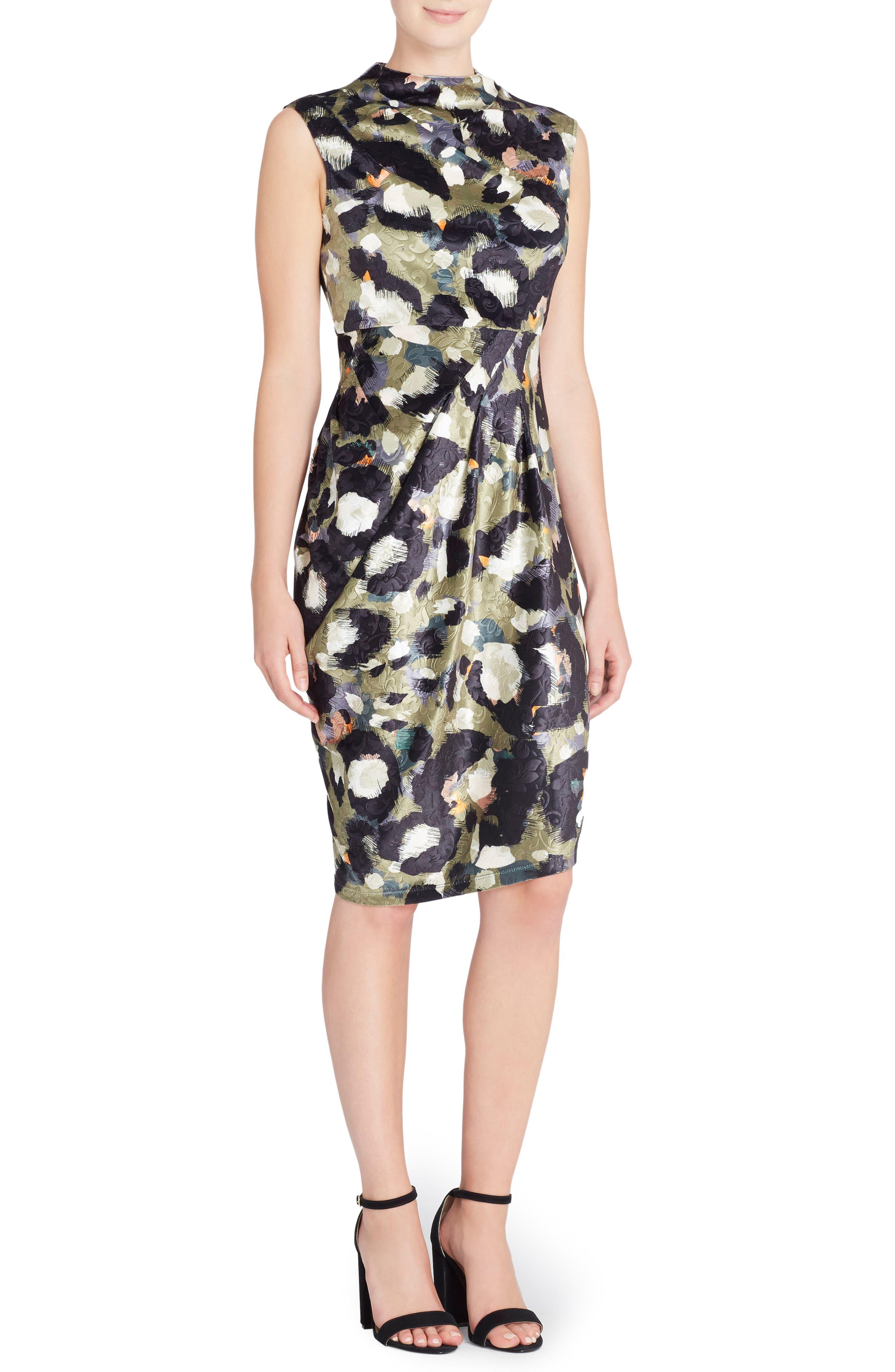 Arlene Floral Jacquard Sheath Dress,                         Main,                         color, Cat Paint