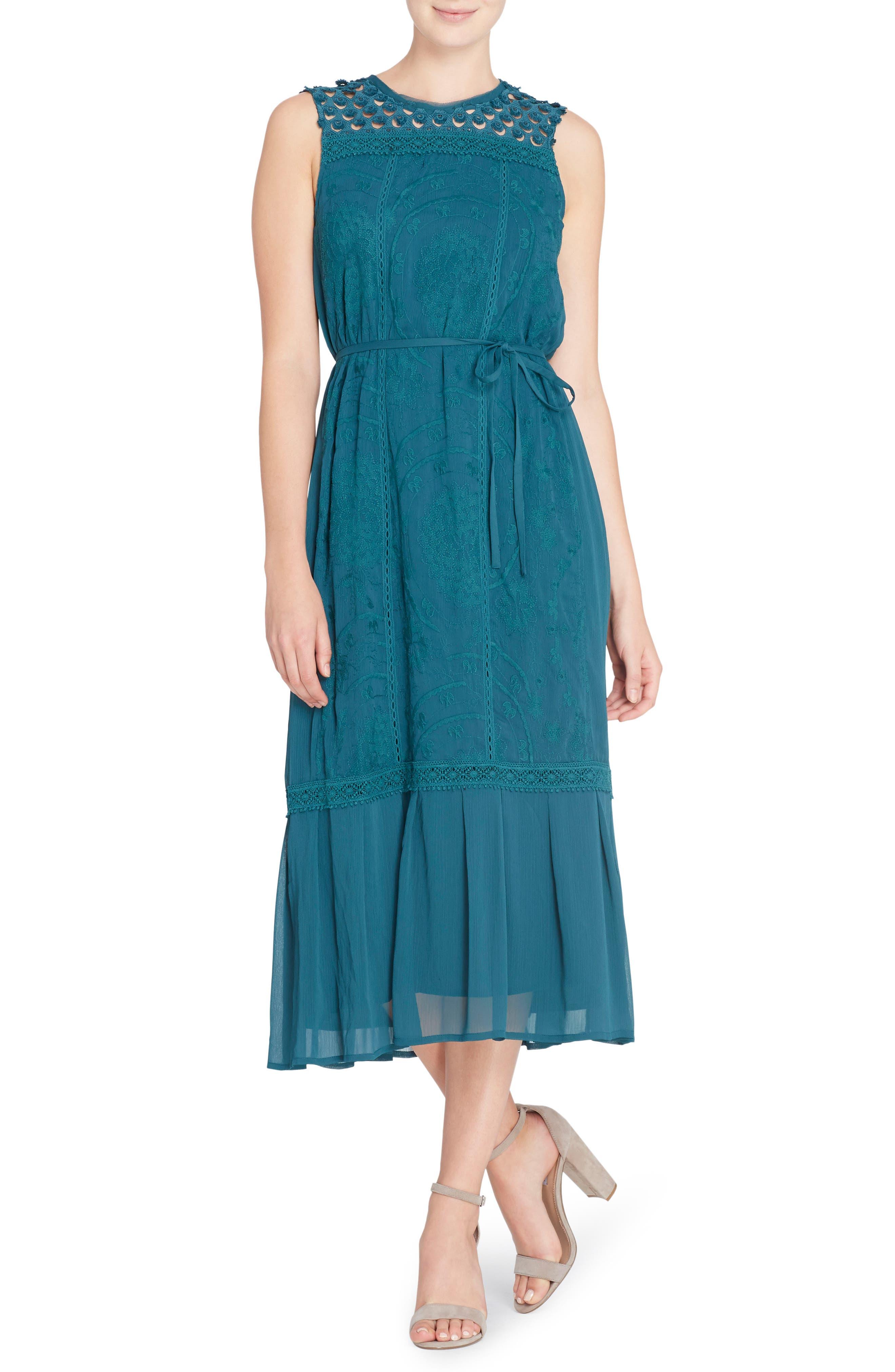 Ellen Embroidered Midi Dress,                             Main thumbnail 1, color,                             Deep Teal
