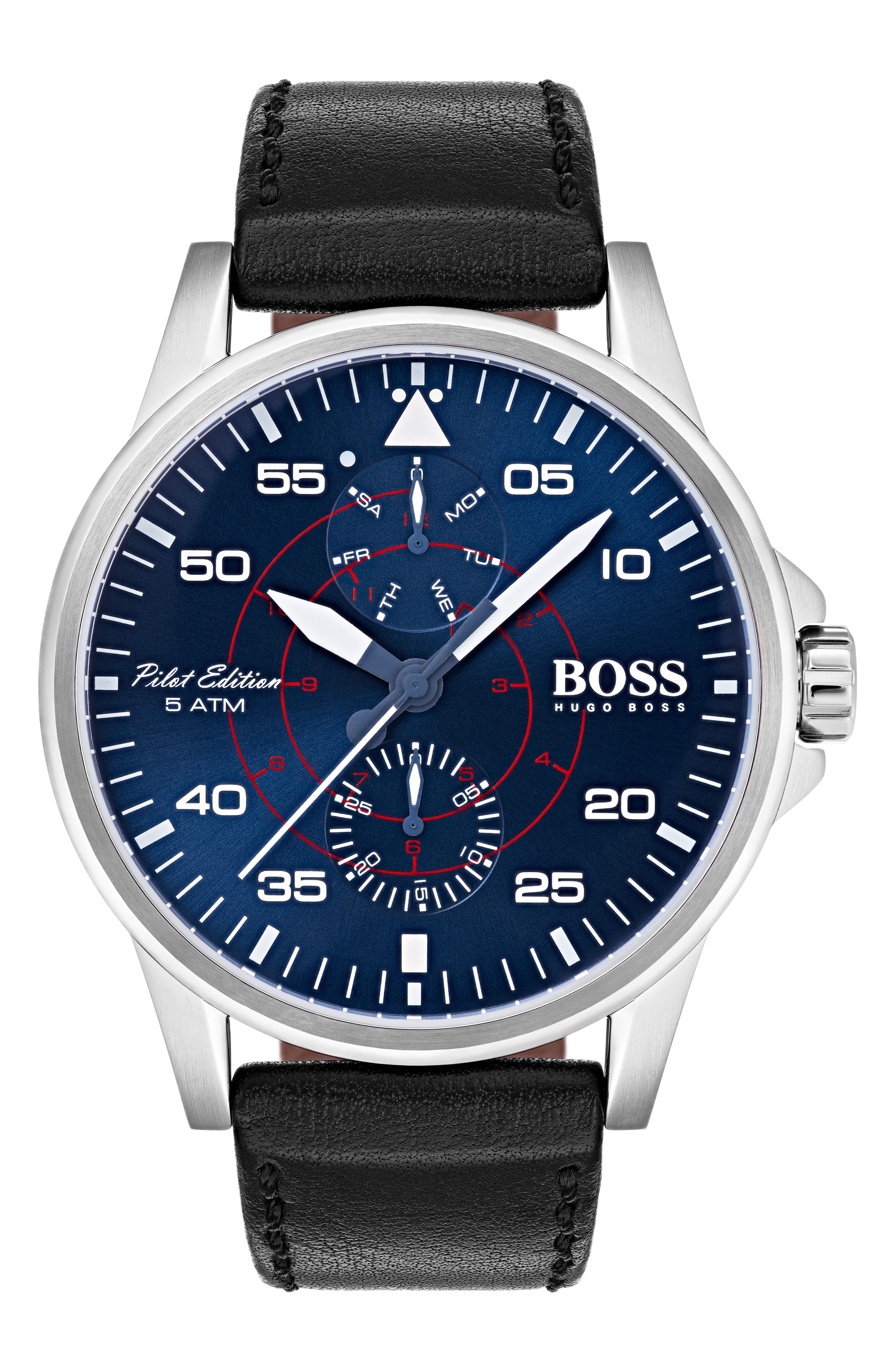 Aviator Multifunction Leather Strap Watch, 44mm,                         Main,                         color, Blue/ Black