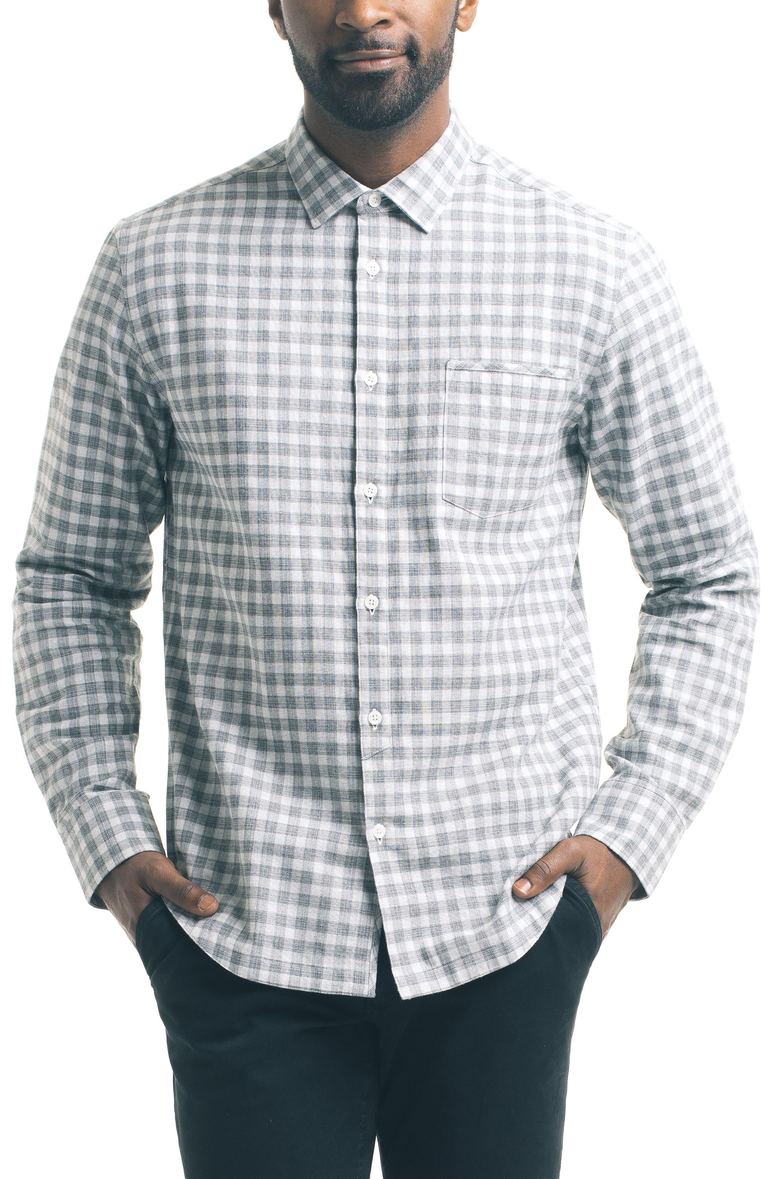 Slim Fit Check Sport Shirt,                         Main,                         color, Khaki