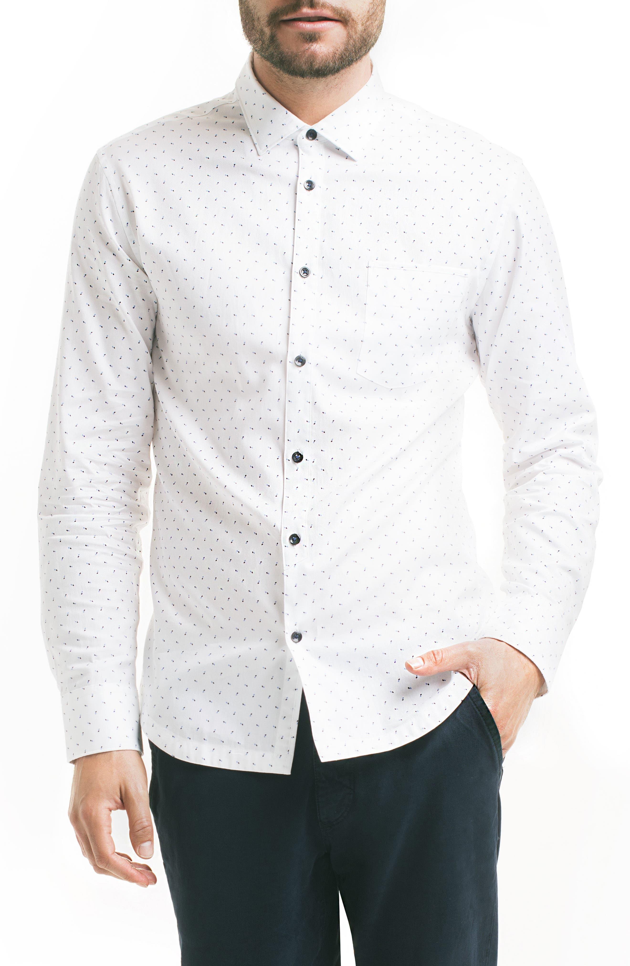 Slim Fit Pattern Sport Shirt,                         Main,                         color, White