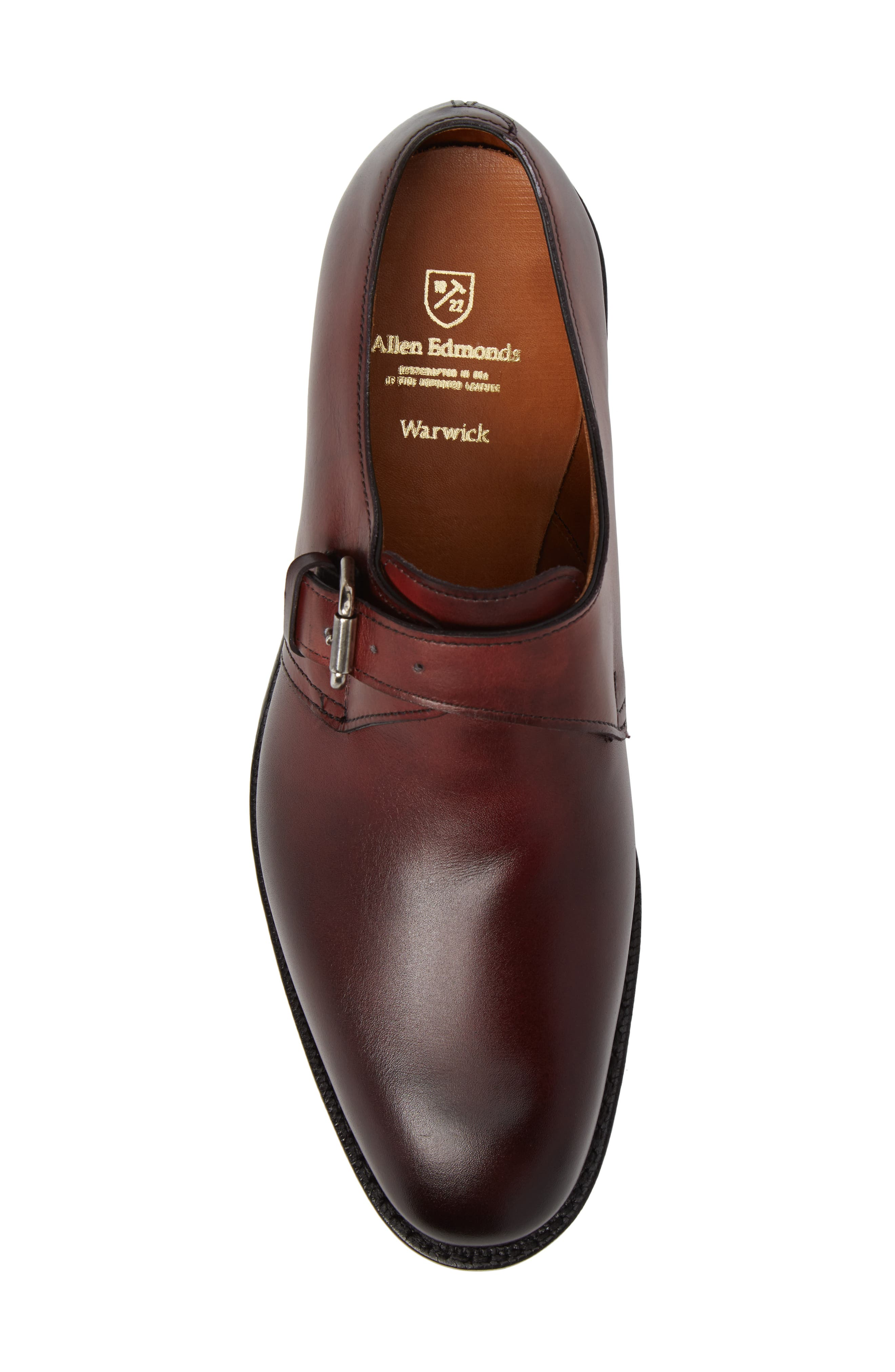 Warwick Monk Strap Shoe,                             Alternate thumbnail 5, color,                             Oxblood Leather