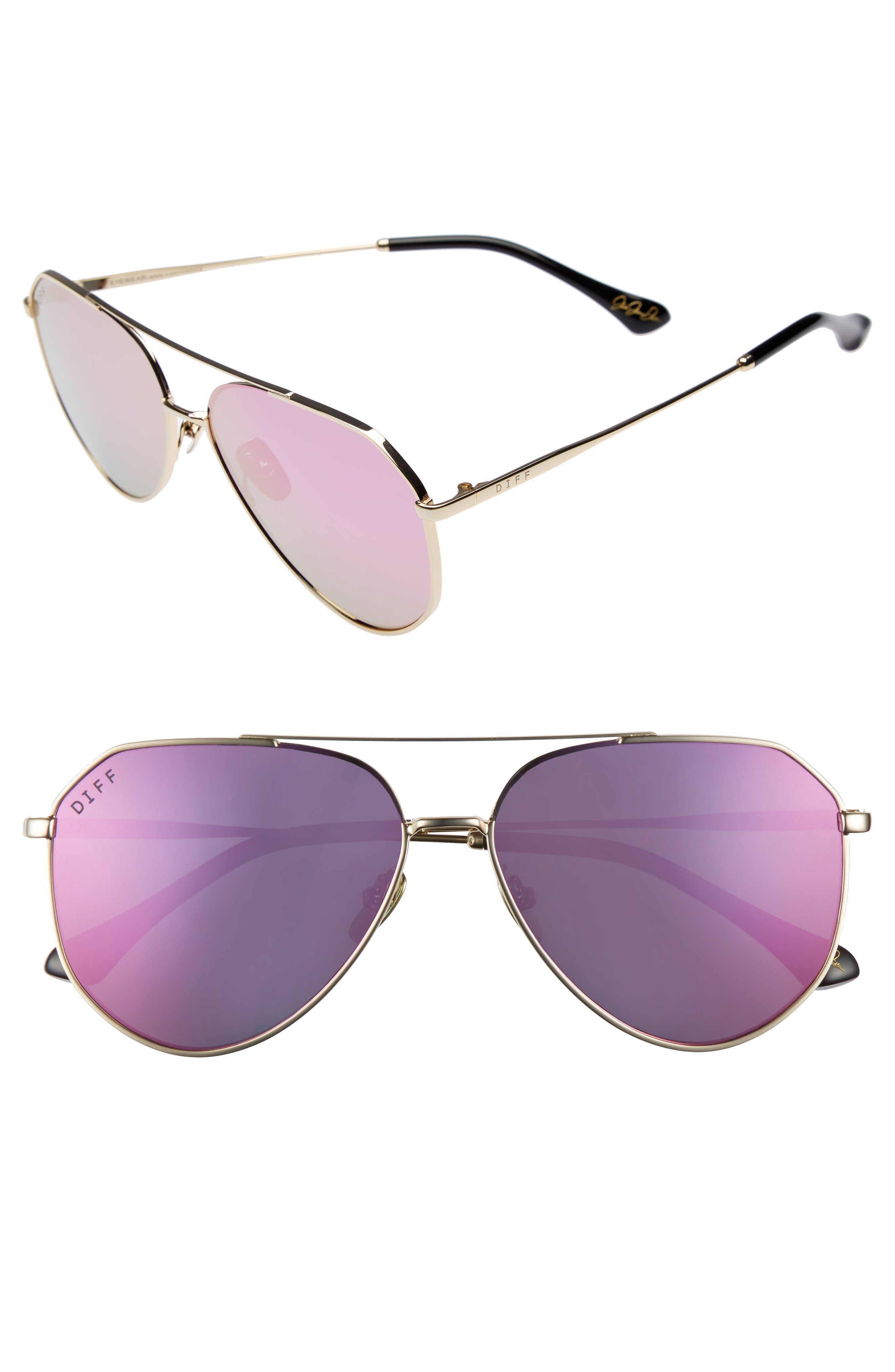 x Jessie James Decker Dash 61mm Polarized Aviator Sunglasses,                         Main,                         color, Gold/ Pink