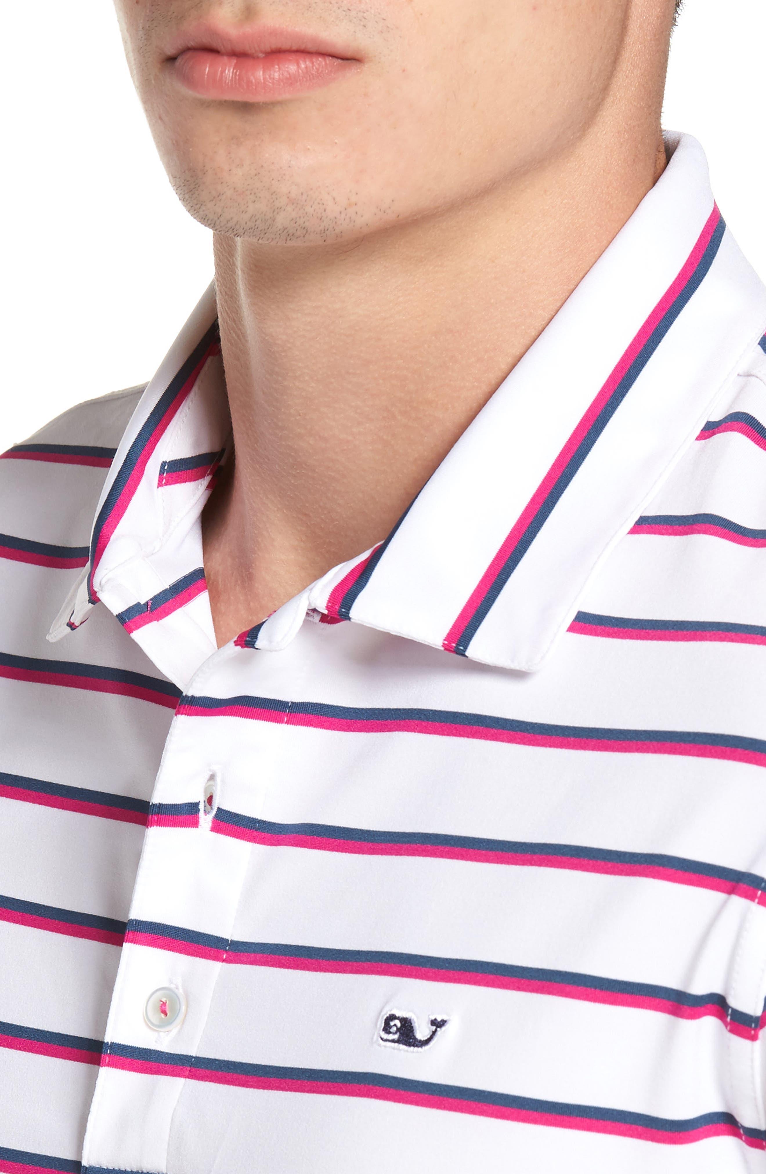 Eshman Stripe Polo,                             Alternate thumbnail 4, color,                             White Cap