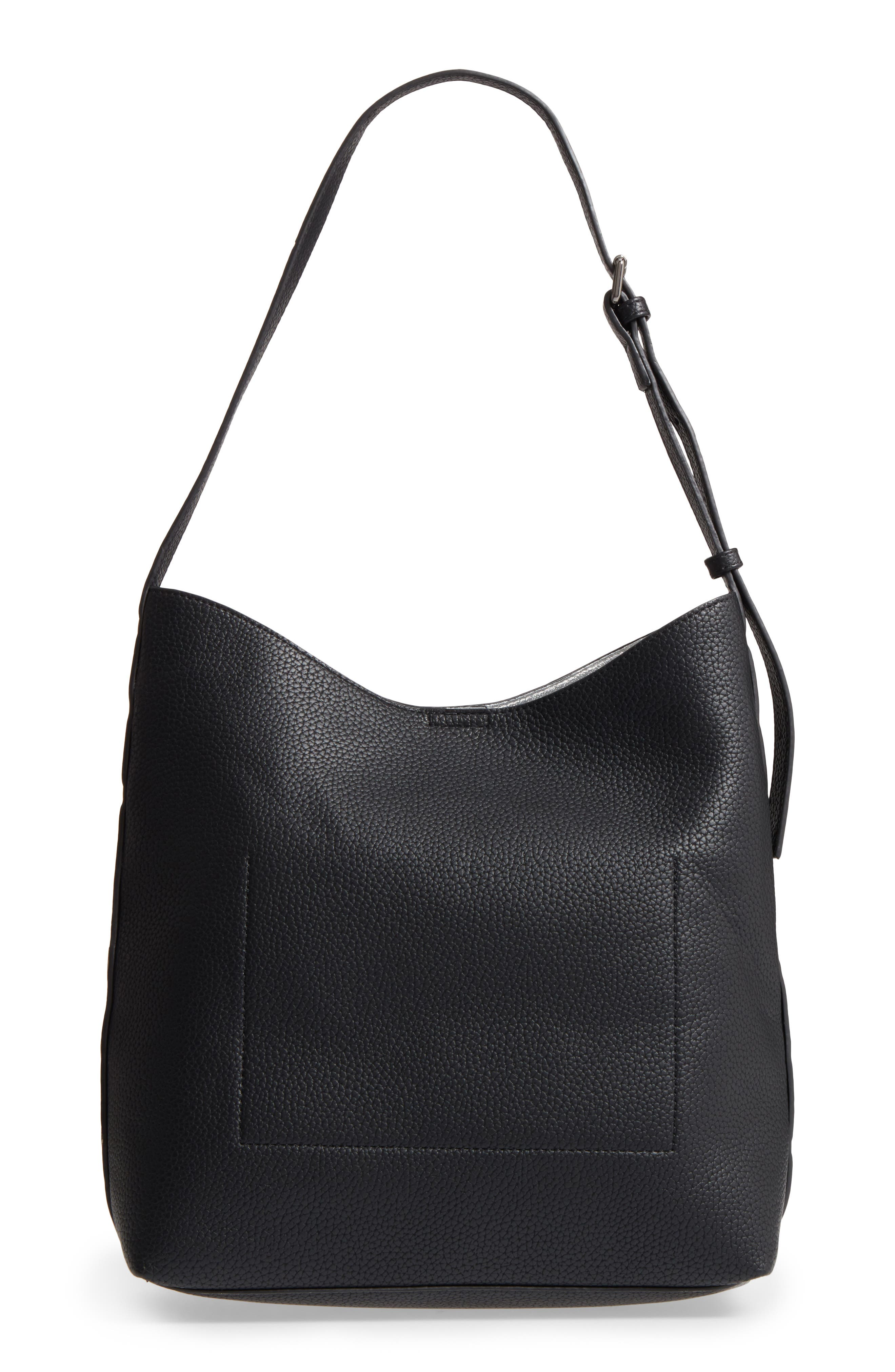 Samara Faux Leather Shoulder Bag,                             Alternate thumbnail 2, color,                             Black