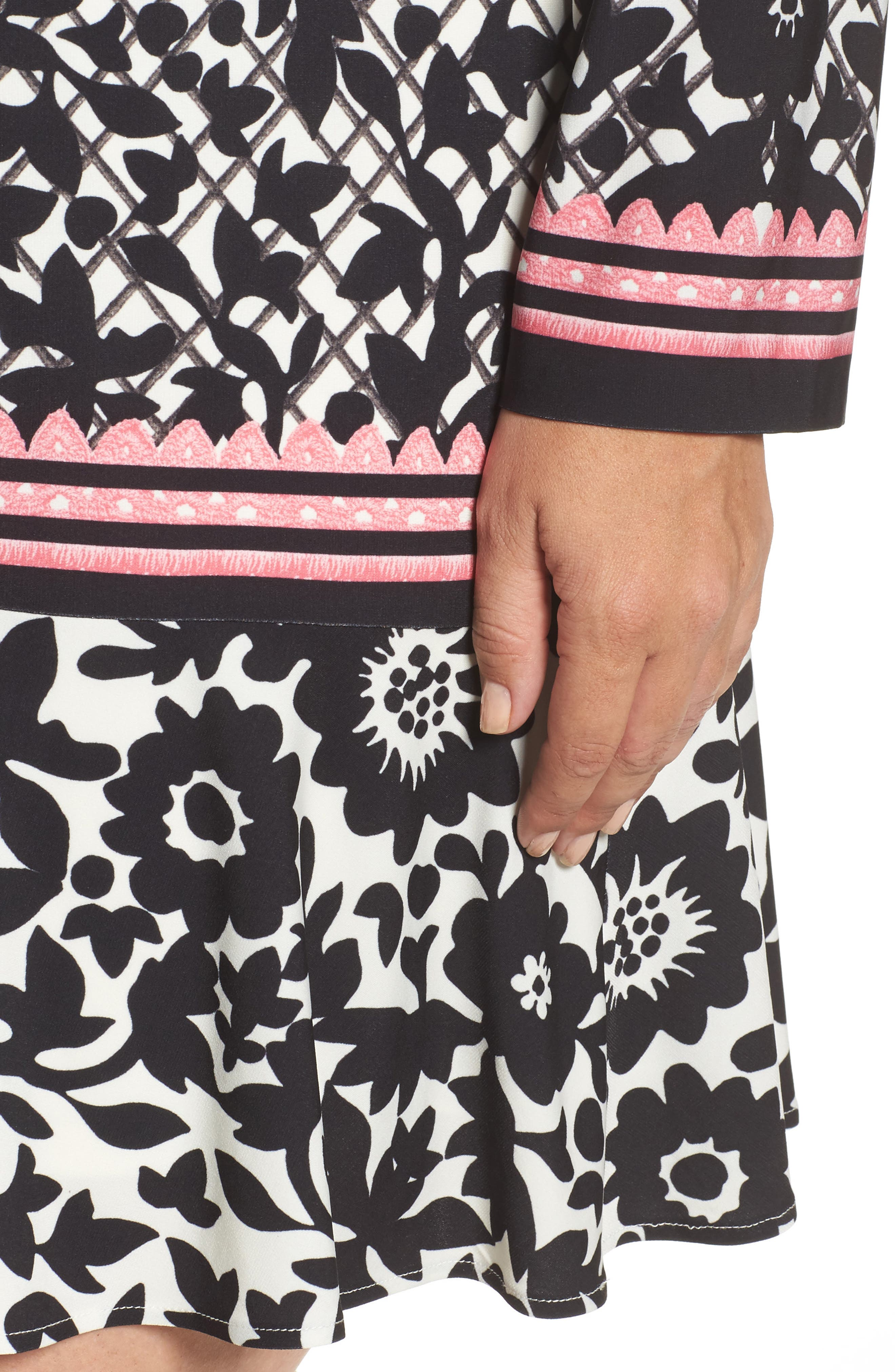 Lace Trim Shift Dress,                             Alternate thumbnail 5, color,                             Black/ Pink