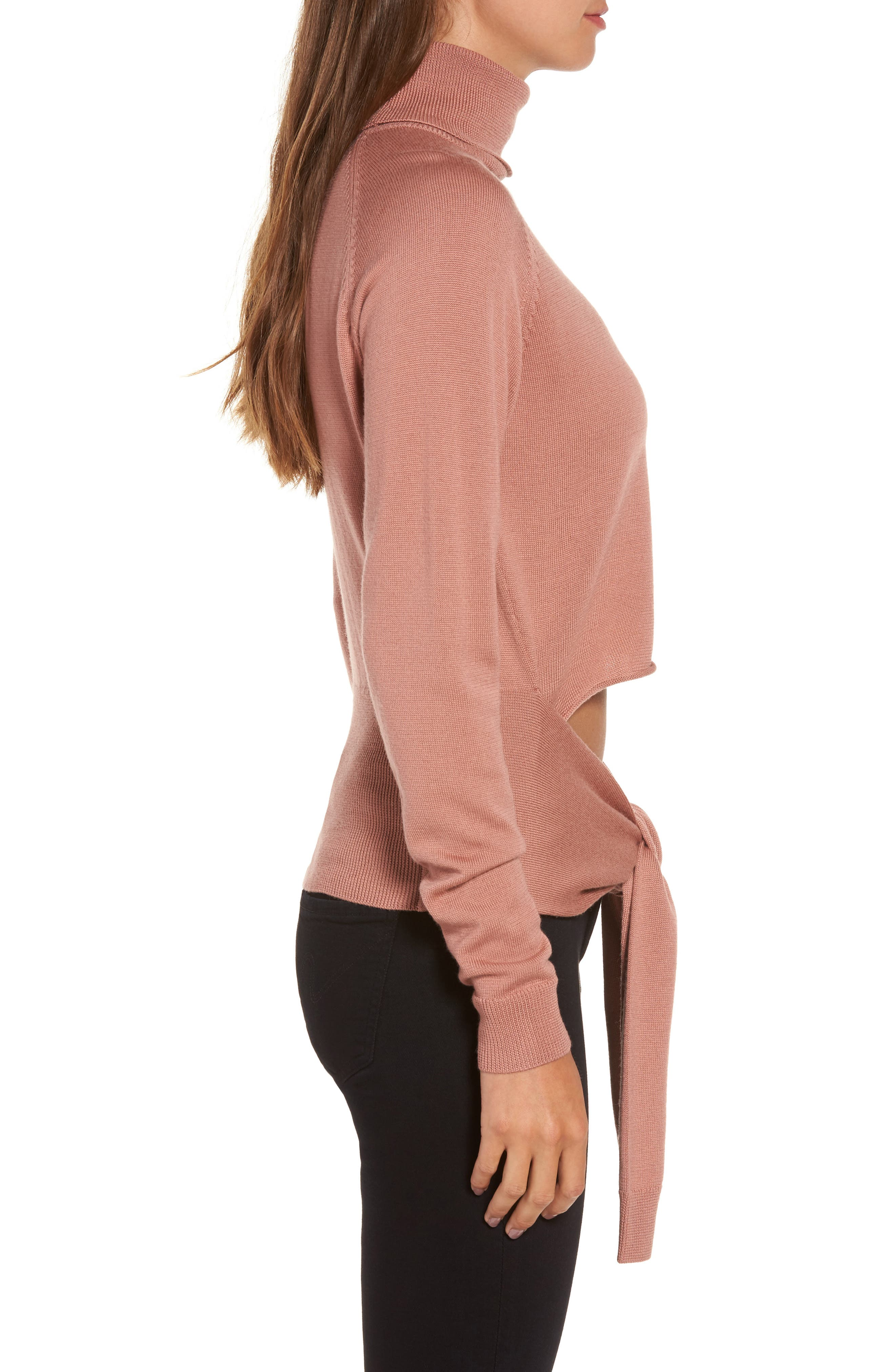 Tie Front Turtleneck Sweater,                             Alternate thumbnail 3, color,                             Rose