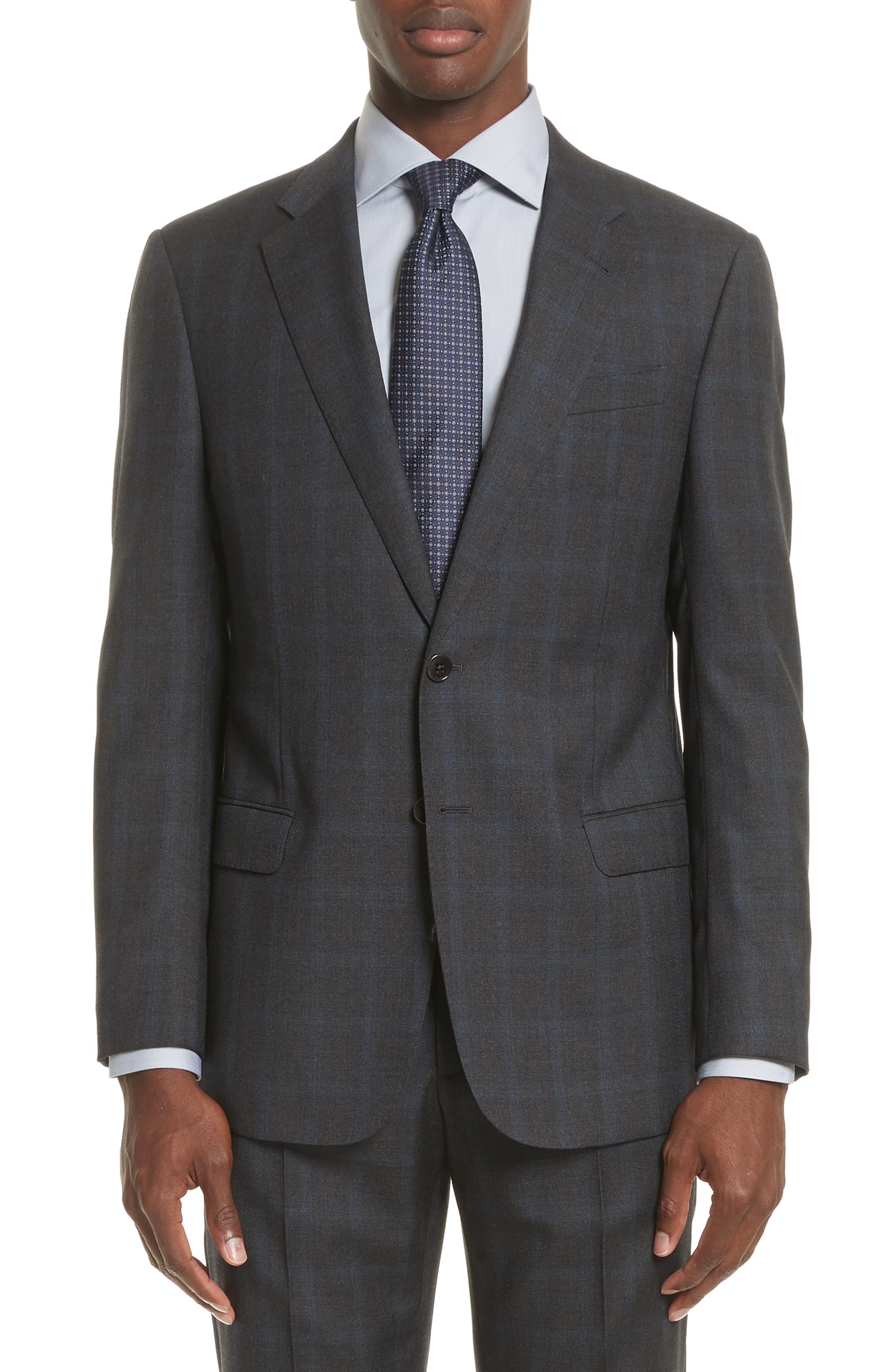 G-Line Trim Fit Plaid Wool Suit,                             Alternate thumbnail 5, color,                             Black