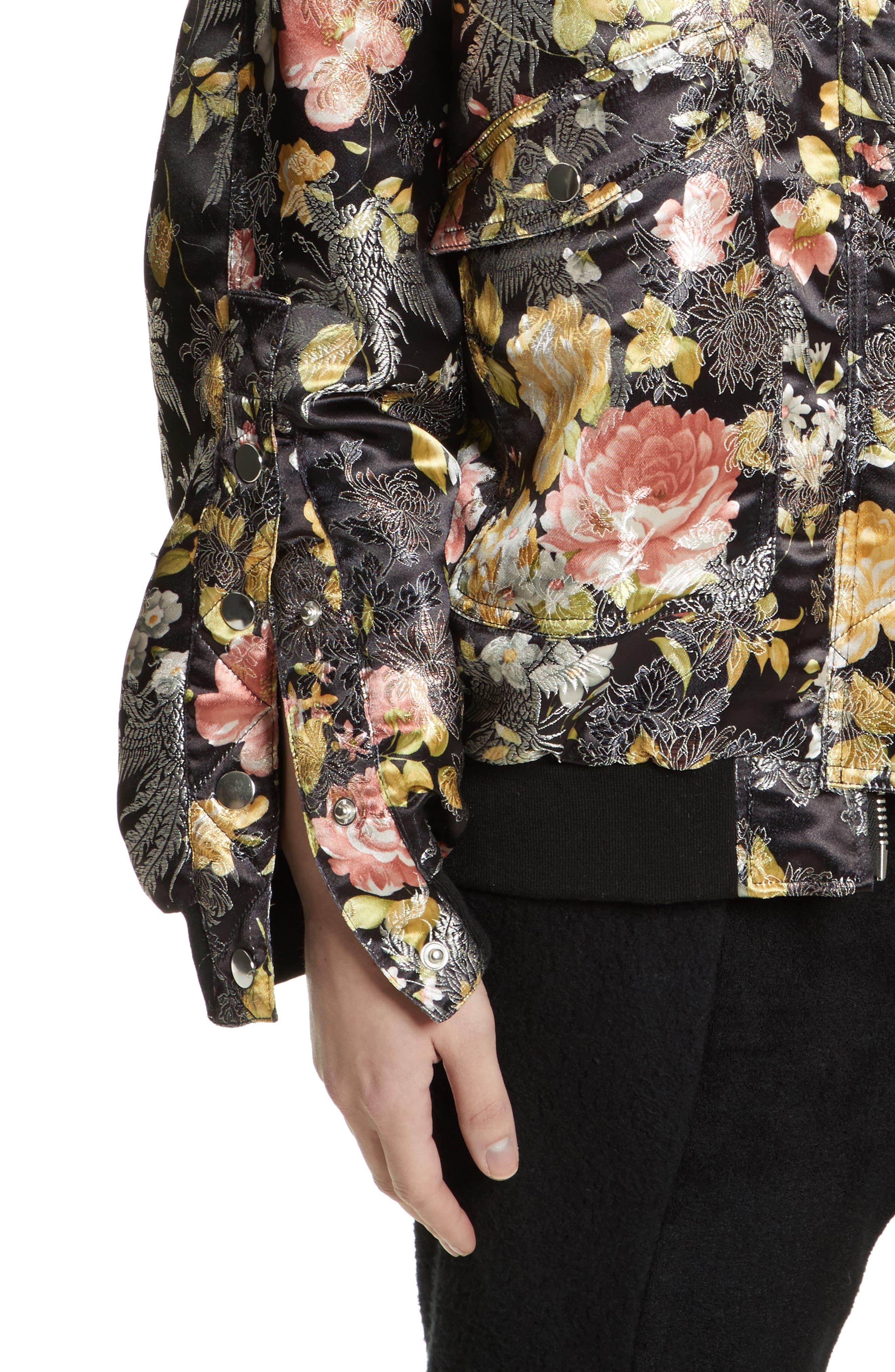Floral Jacquard Bomber Jacket,                             Alternate thumbnail 4, color,                             Black Combo