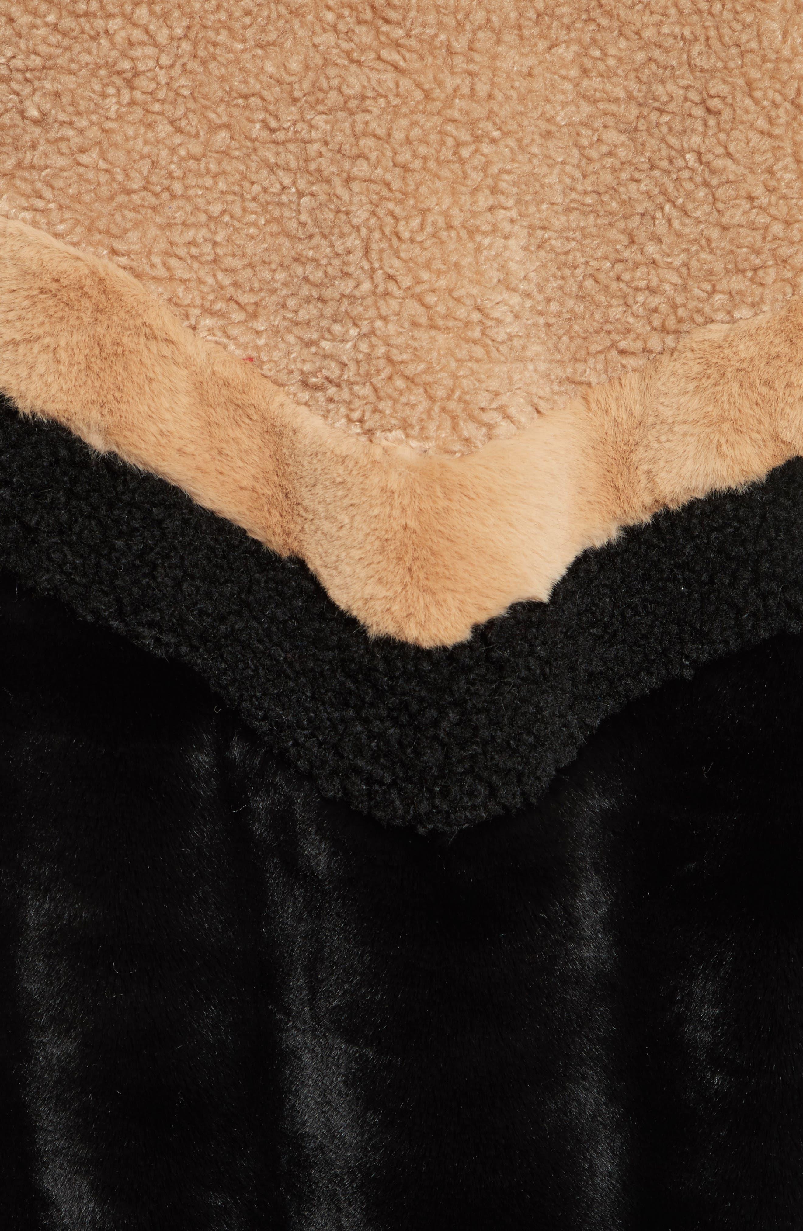 Mixed Faux Fur Bomber Jacket,                             Alternate thumbnail 5, color,                             Black