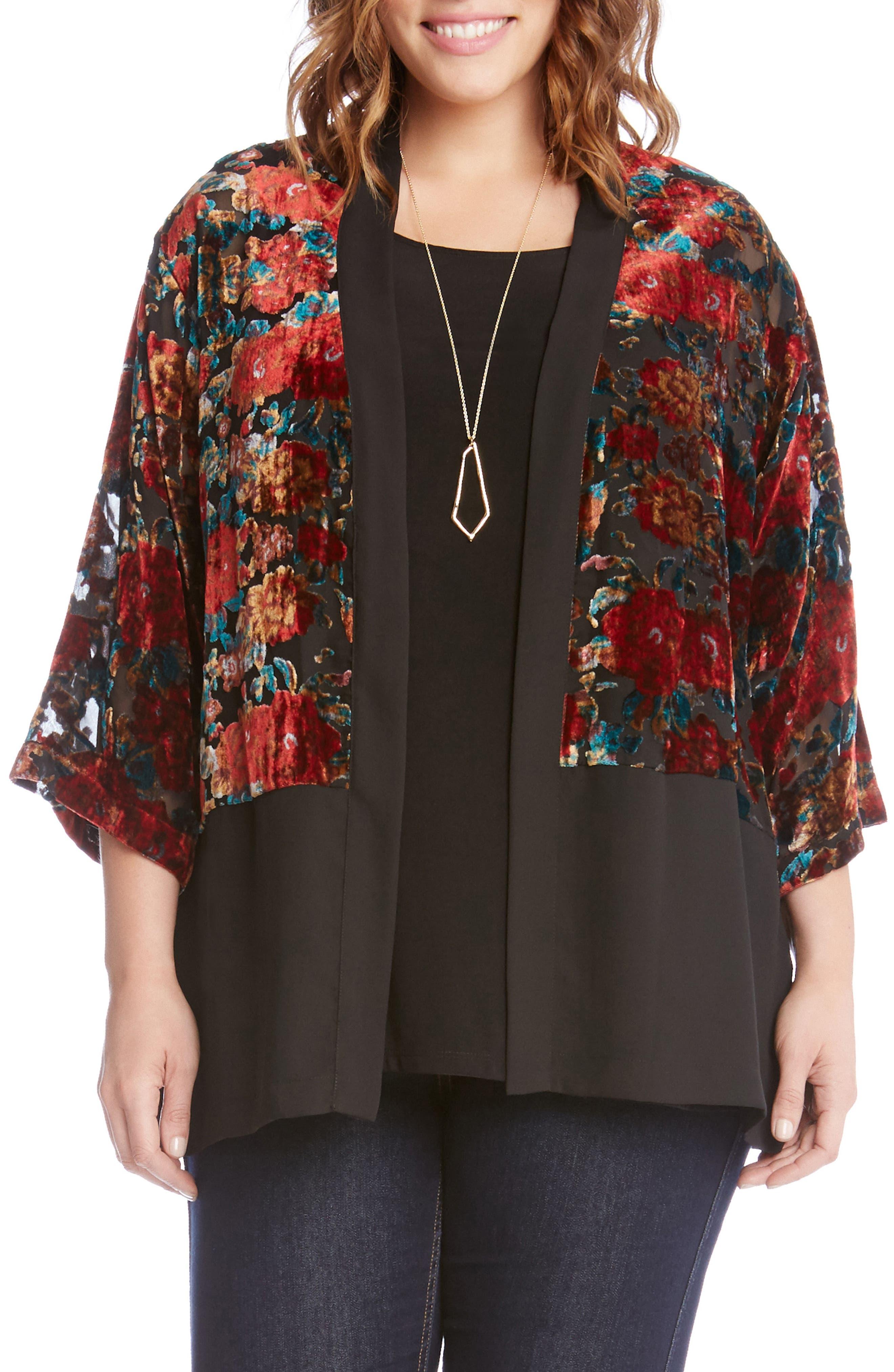 Karen Kane Burnout Velvet Kimono Jacket (Plus Size)