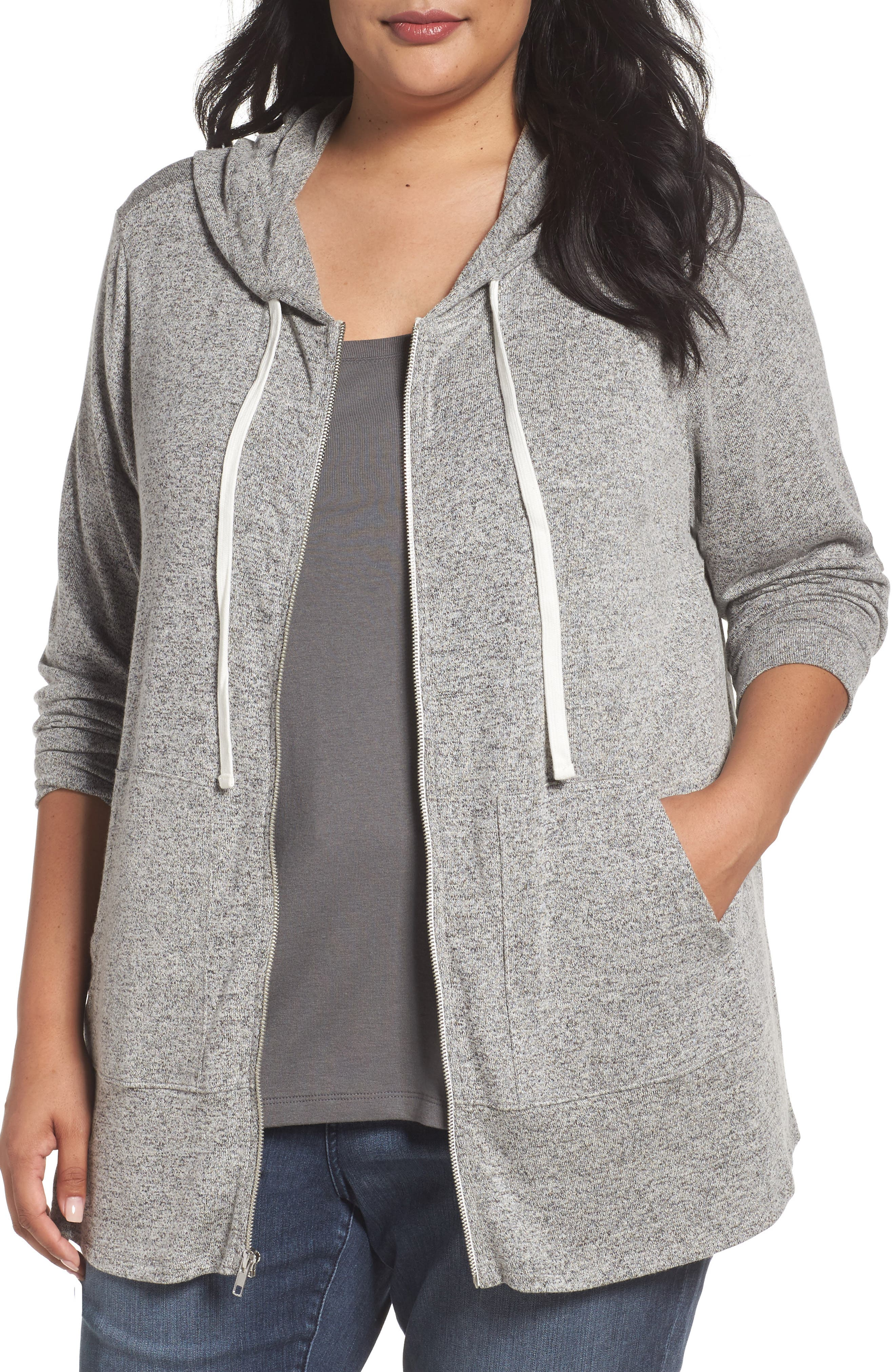 Alternate Image 1 Selected - Sejour Zip Front Hoodie (Plus Size)