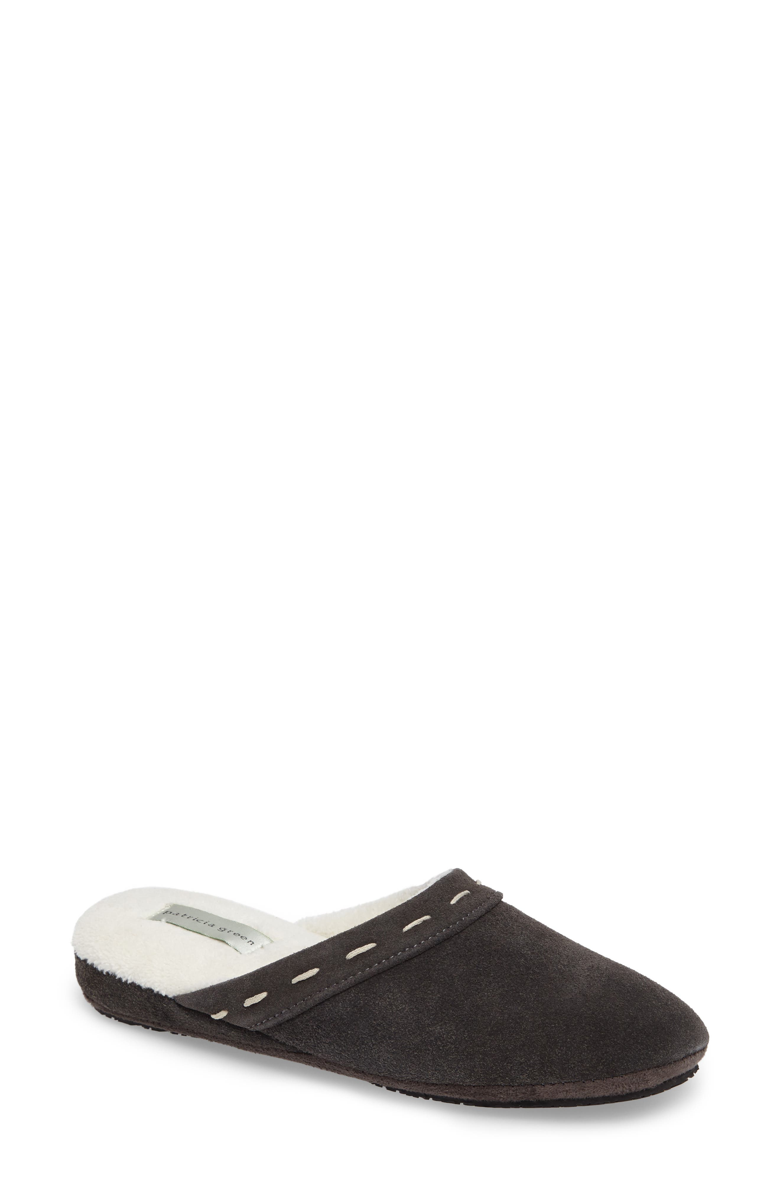 Mayfair Wedge Slipper,                             Main thumbnail 1, color,                             Charcoal Suede