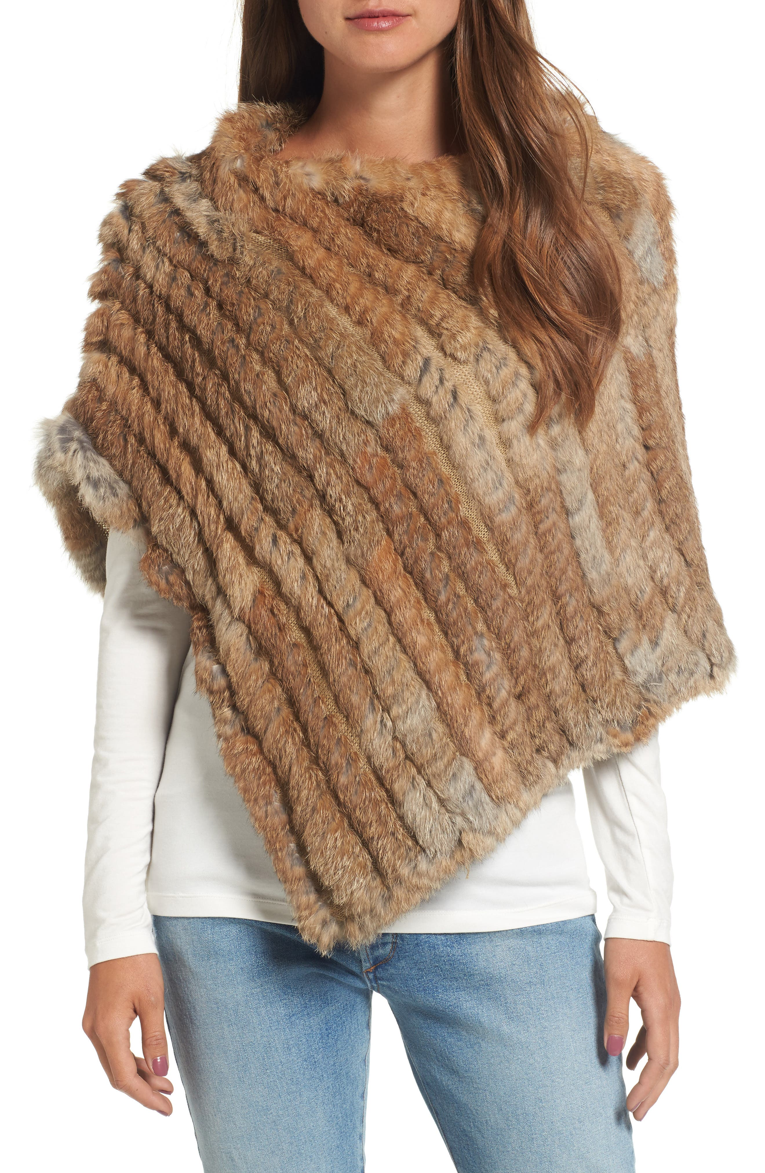 Genuine Rabbit Fur Poncho,                             Main thumbnail 1, color,                             Brown/Camel