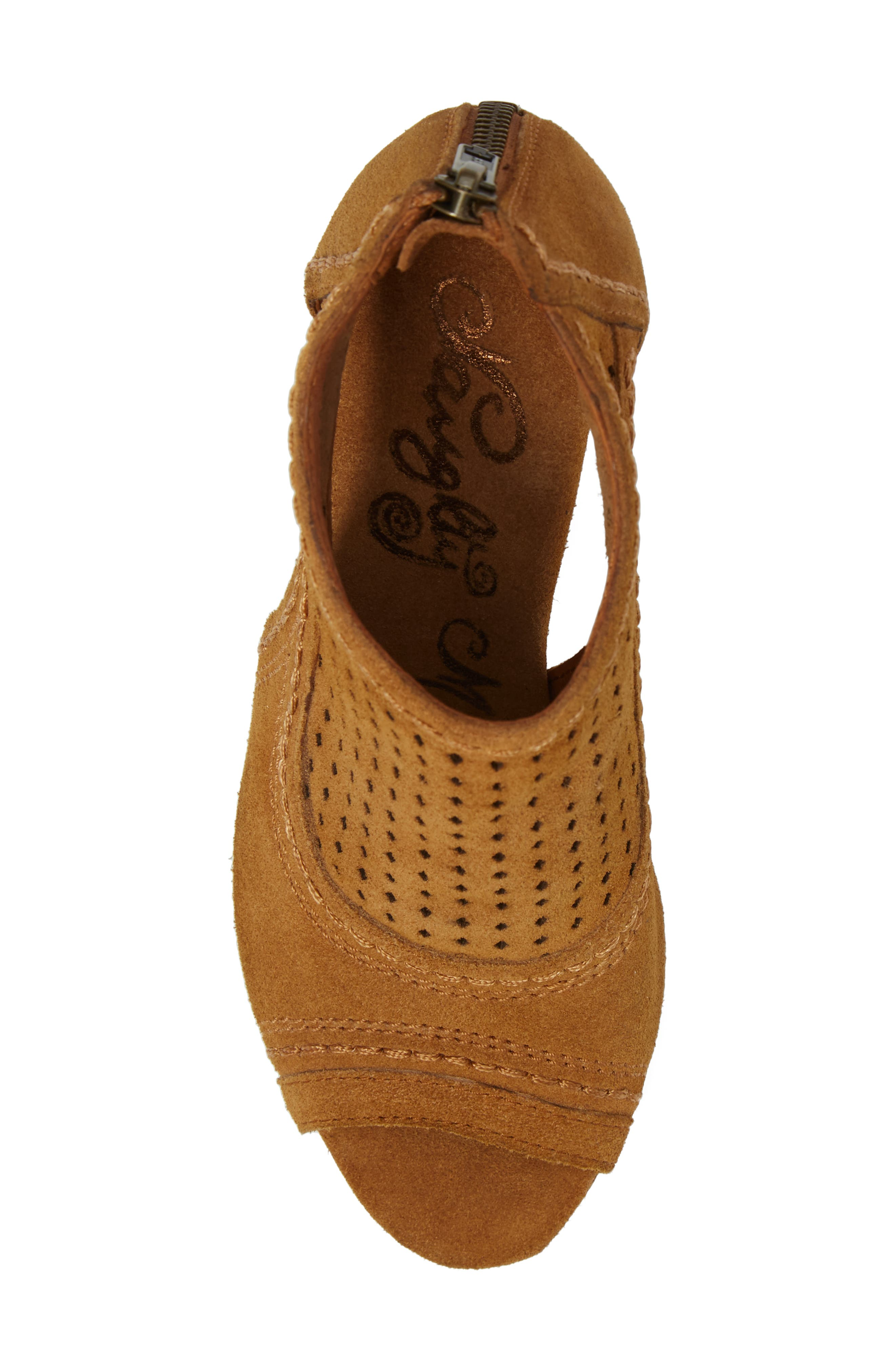 Sharon Perforated Wedge Sandal,                             Alternate thumbnail 5, color,                             Sandcastle Suede