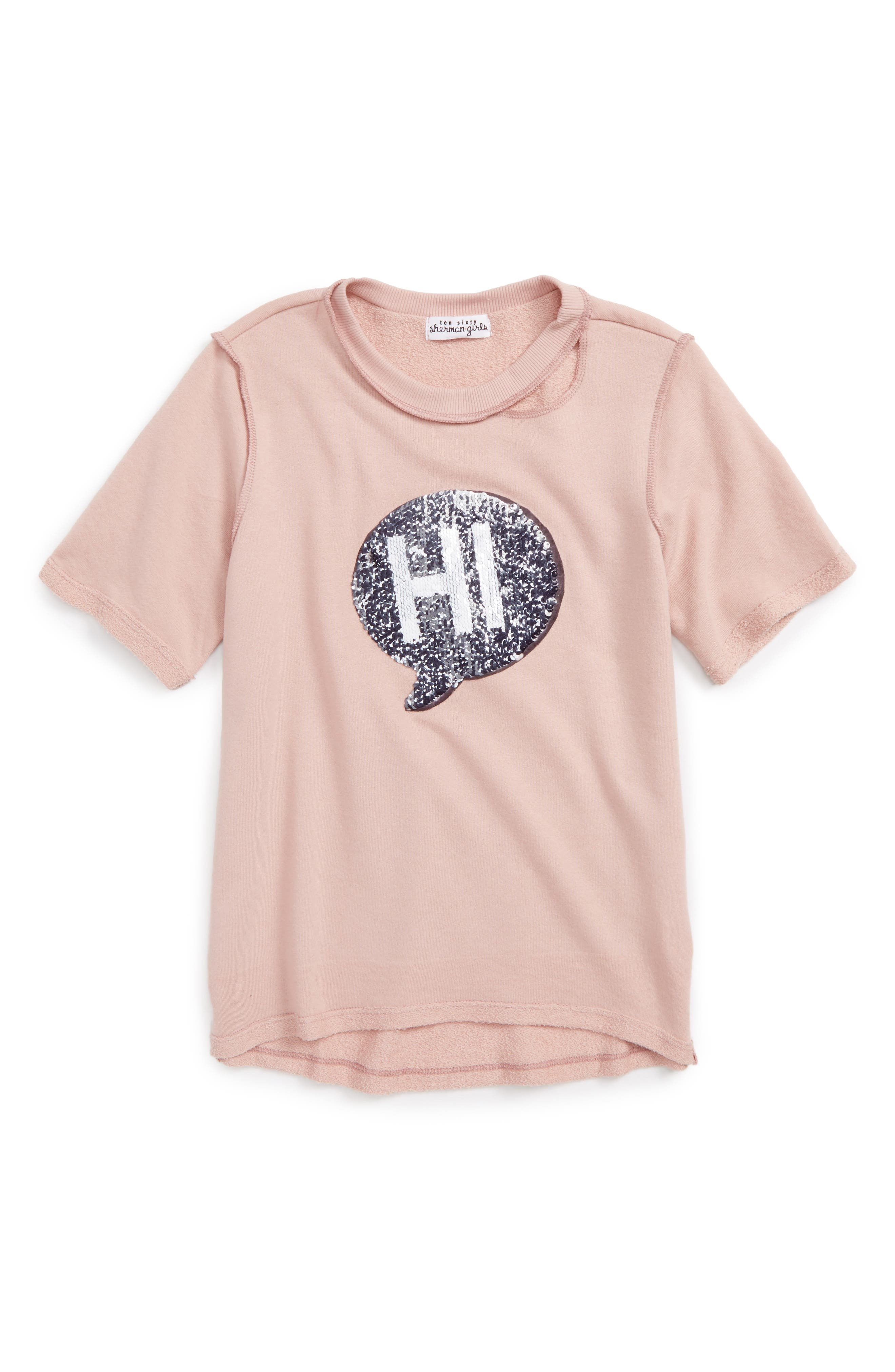 Ten Sixty Sherman Hi/Bye Sequin Tee (Big Girls)