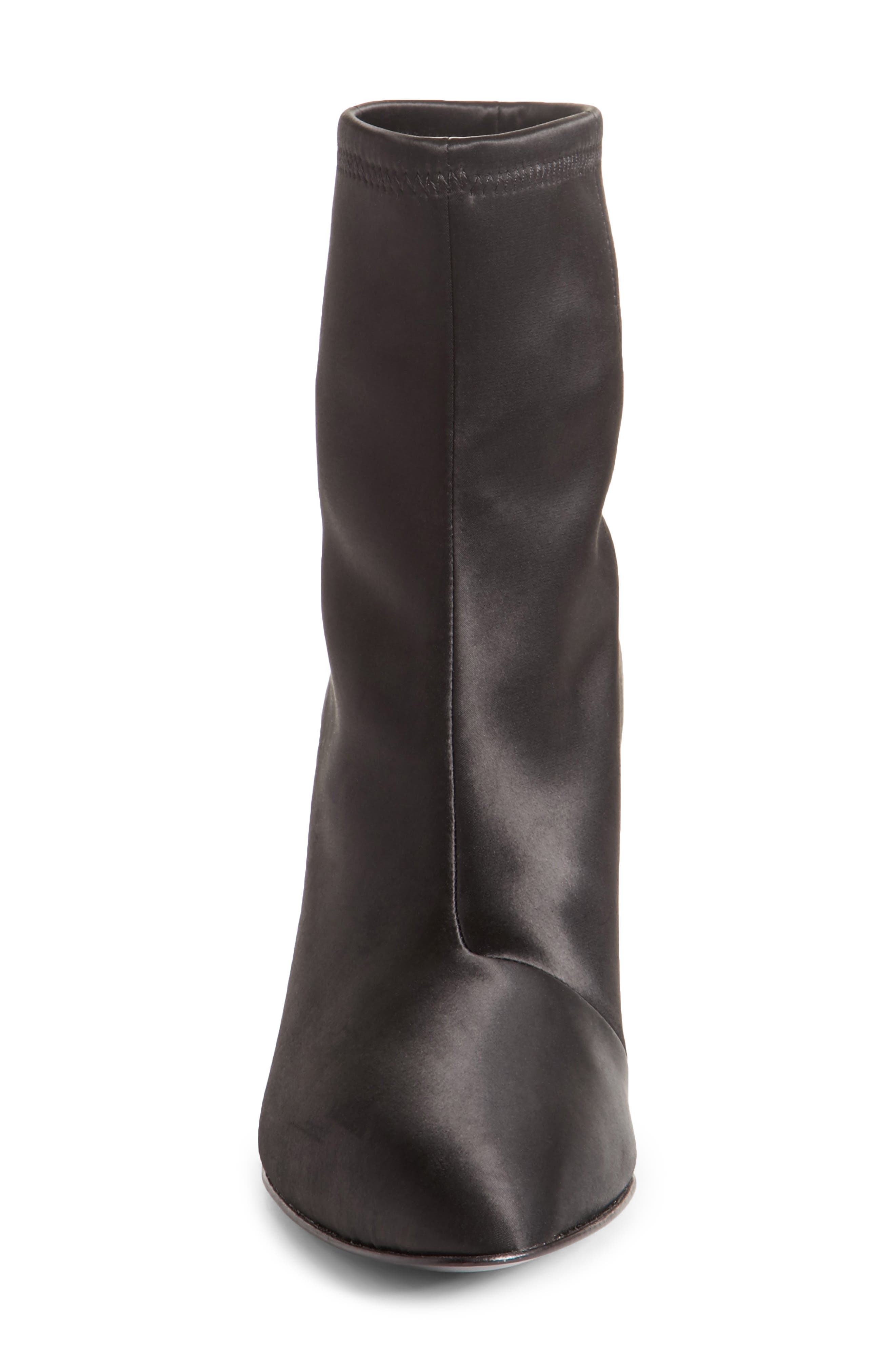 Dylan Stretch Satin Bootie,                             Alternate thumbnail 5, color,                             Black