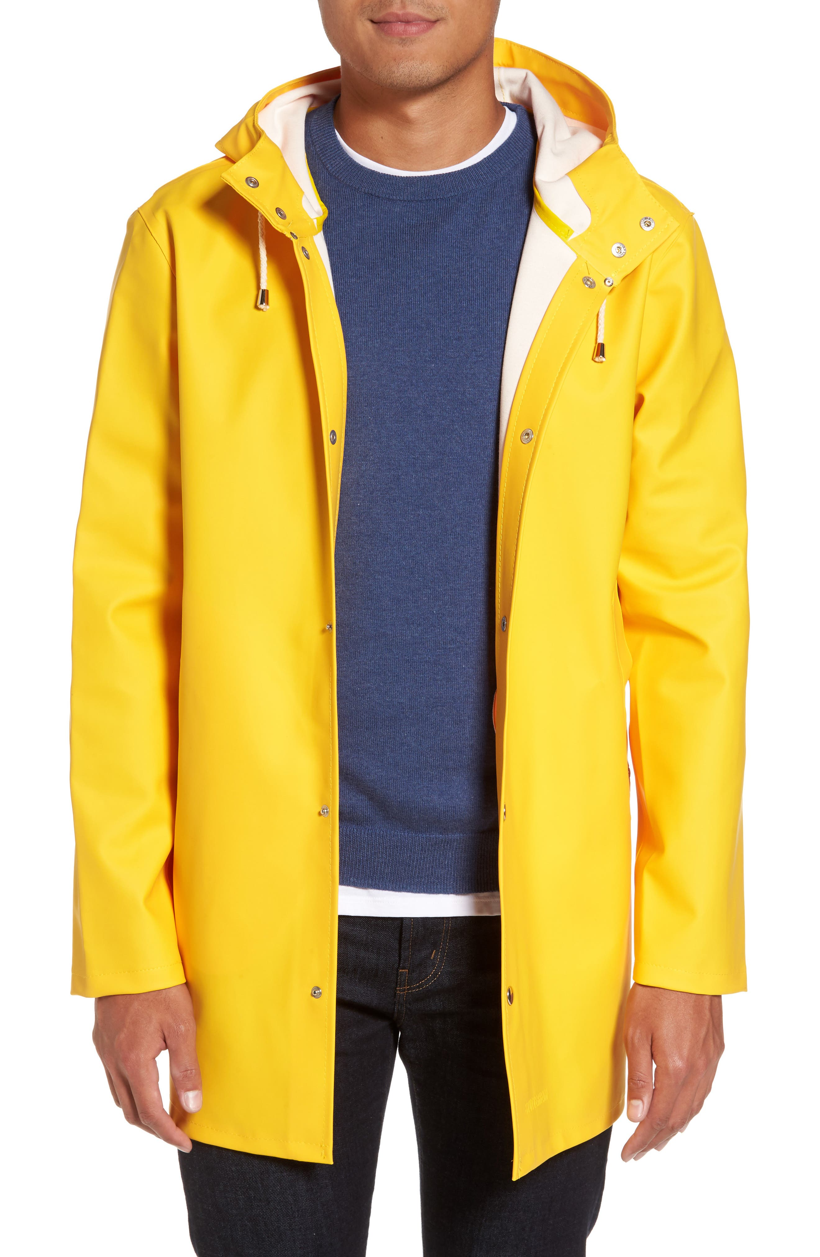 Stockholm Waterproof Hooded Raincoat,                         Main,                         color, Yellow