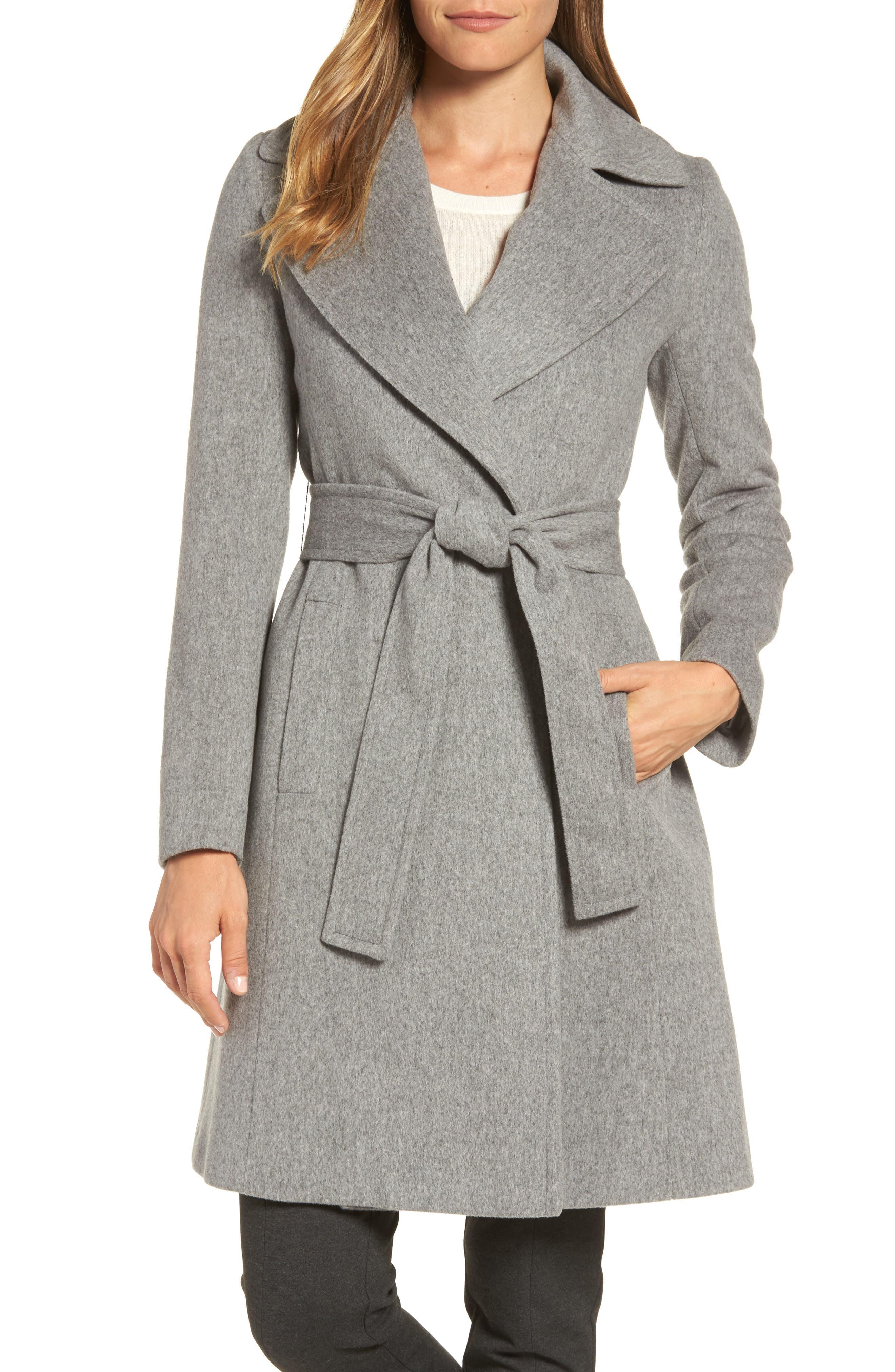 Wool Wrap Coat,                         Main,                         color, Grey/ Heather