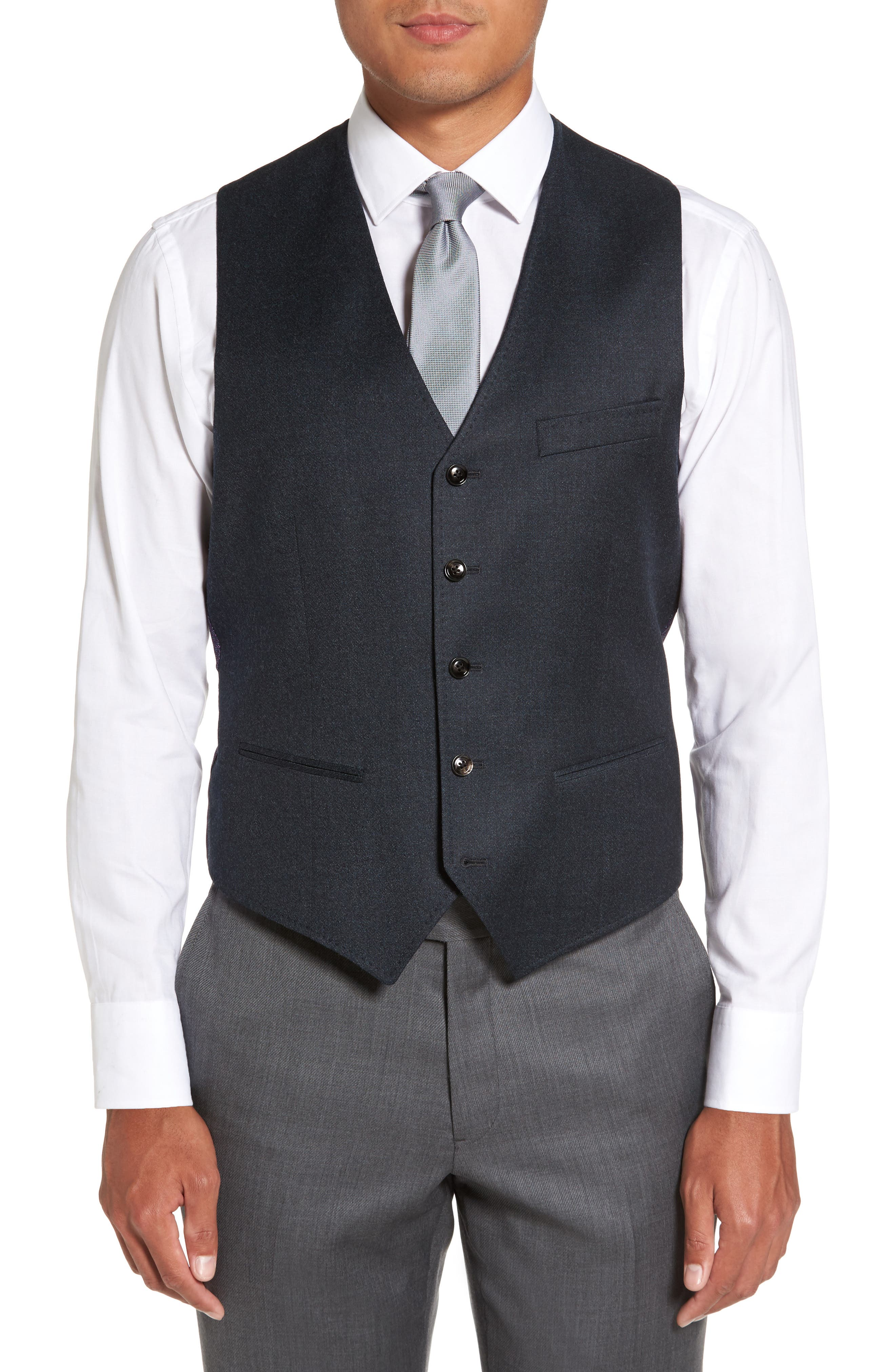 Troy Trim Fit Solid Wool Vest,                         Main,                         color, Teal