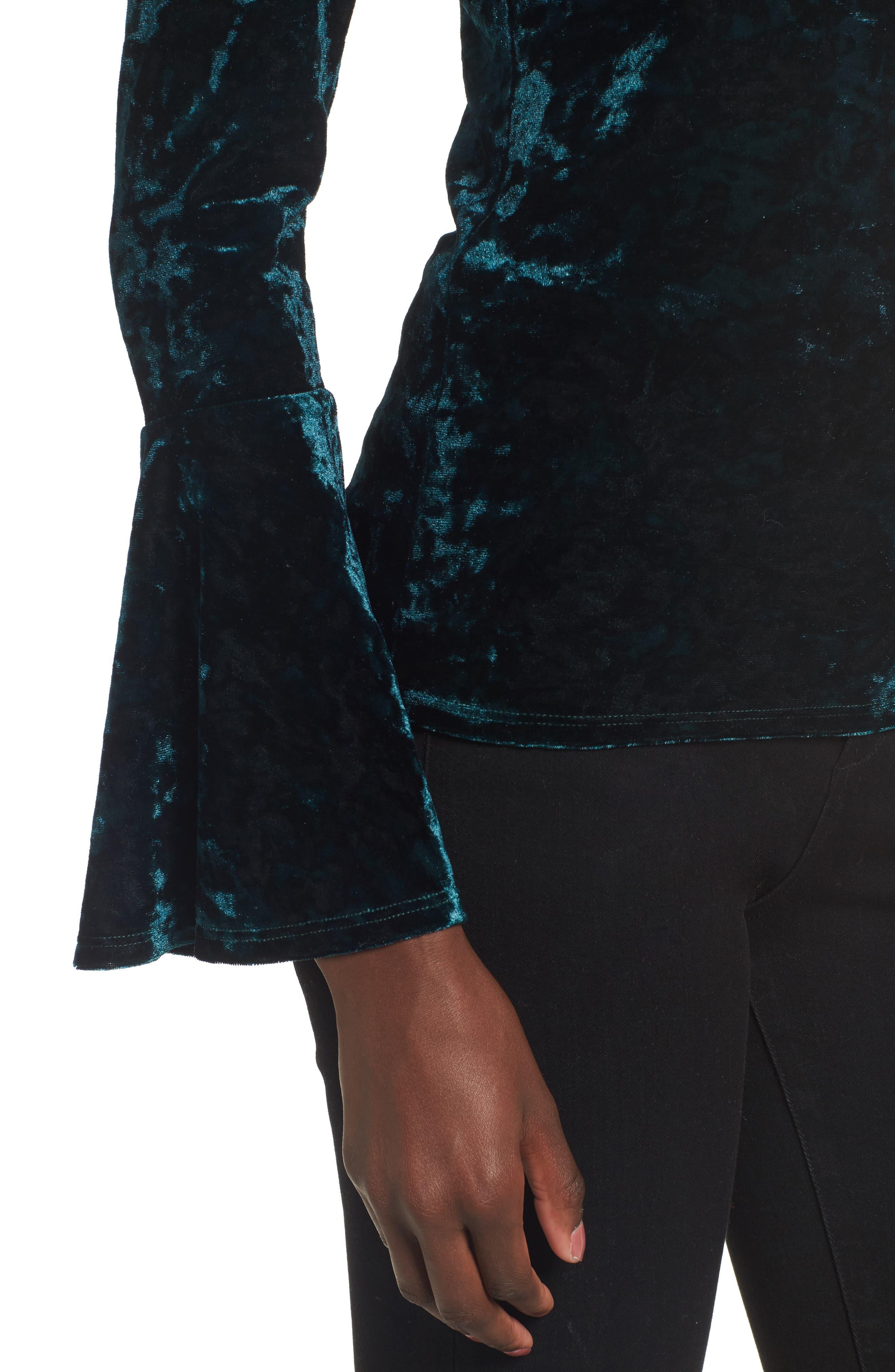 Alternate Image 5  - Lost + Wander Victoria Crushed Velvet Bell Sleeve Top