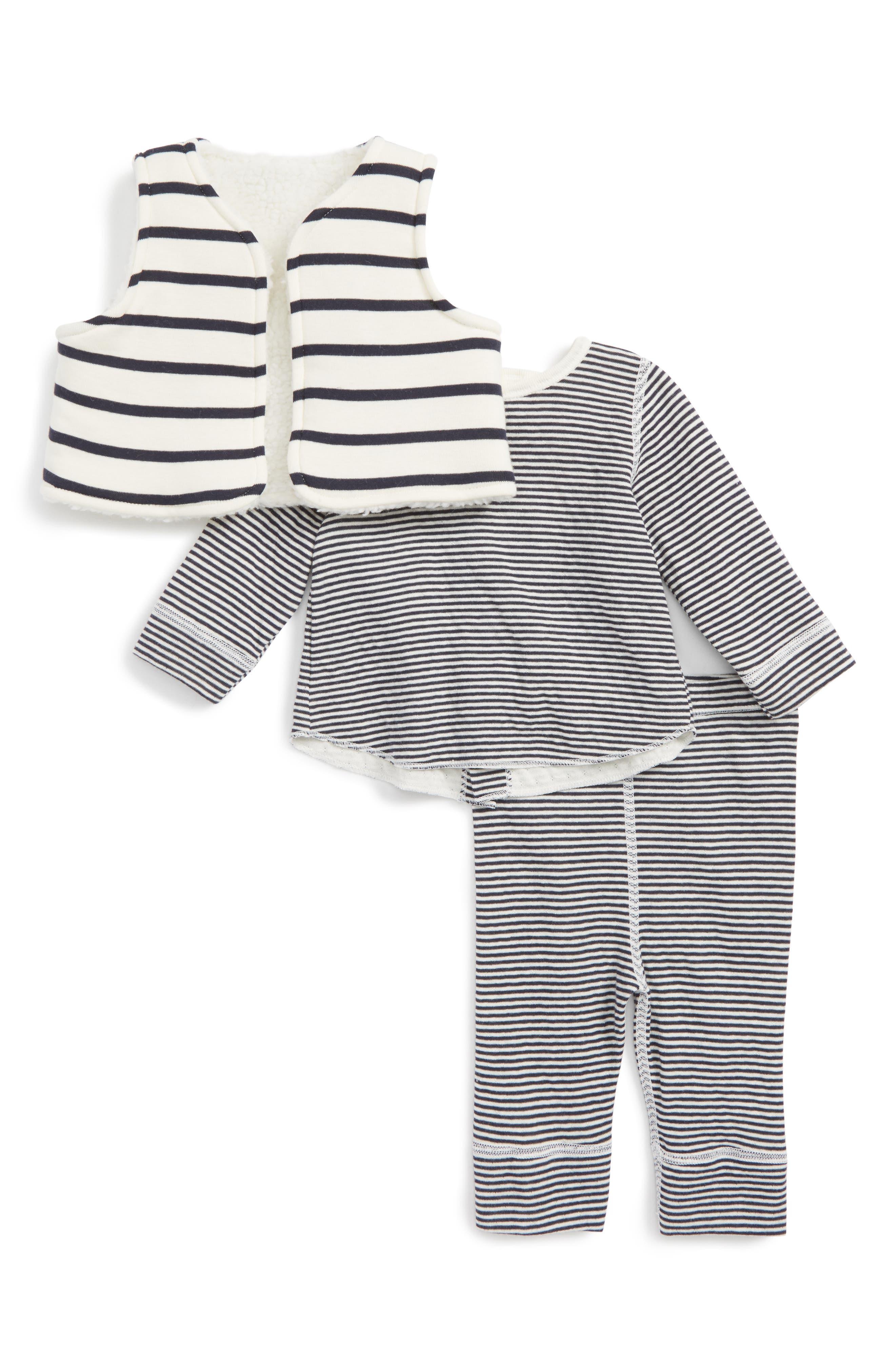 Main Image - Petit Bateau Stripe Vest, Tee & Leggings Set (Baby)
