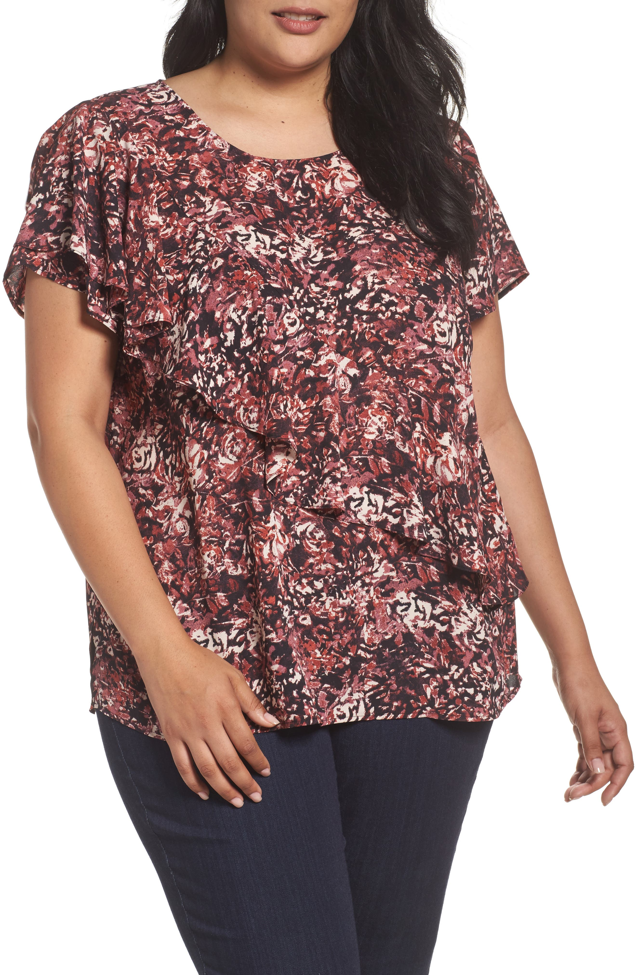 Woven Ruffle Tee,                         Main,                         color, Black- Purple Scattered Print