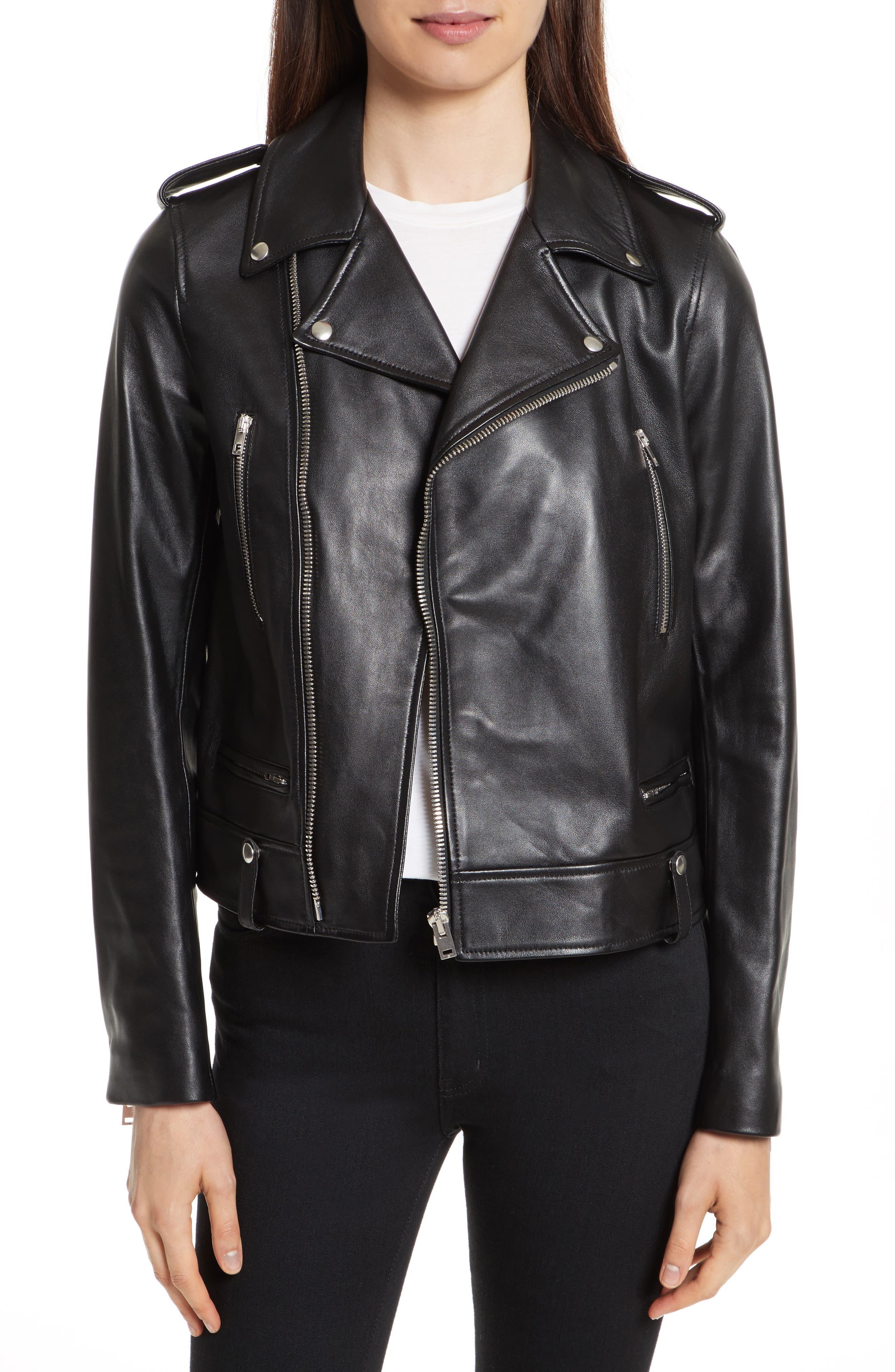 Ryder Leather Biker Jacket,                         Main,                         color, Black