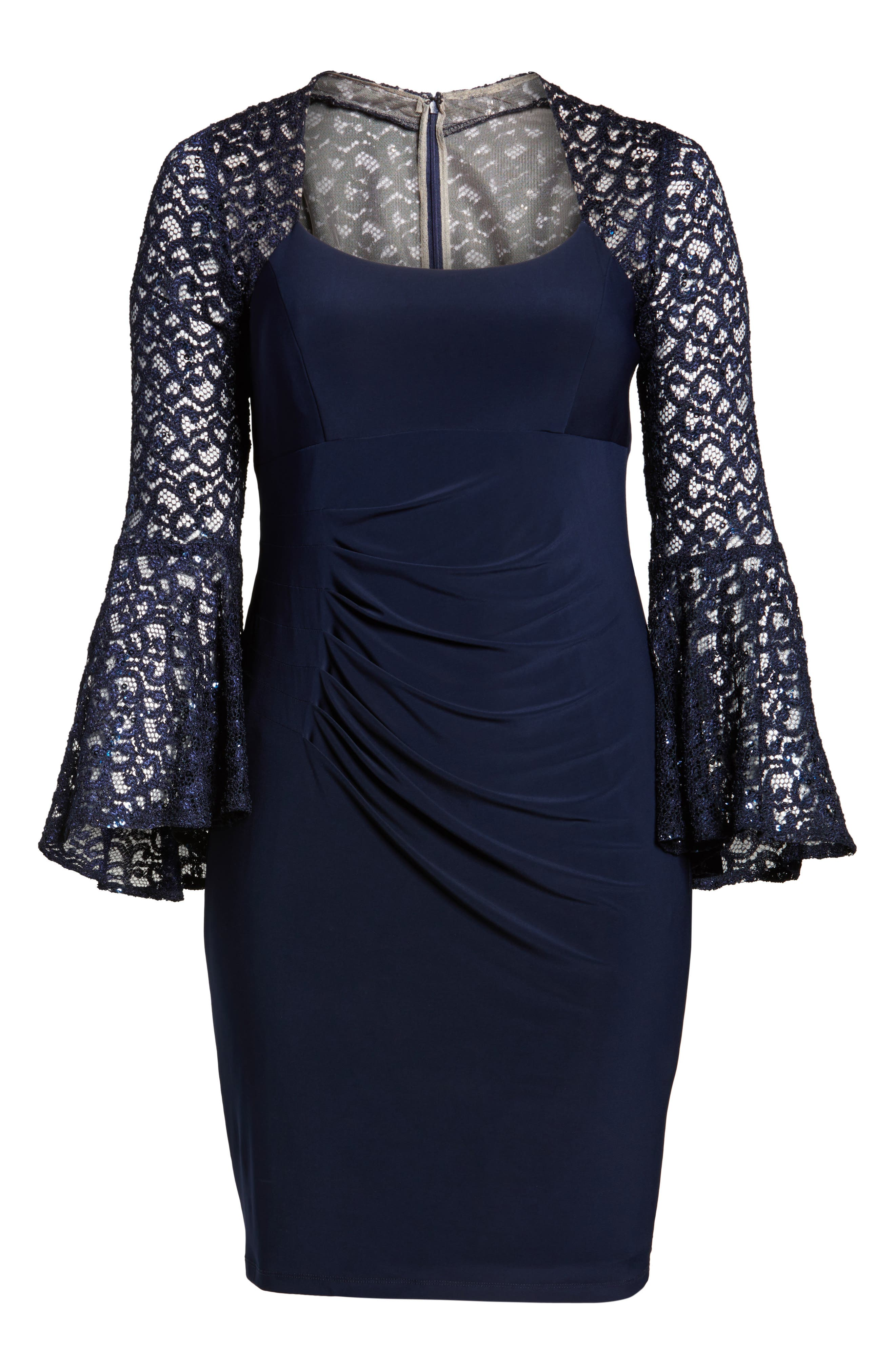 Alternate Image 6  - Xscape Ruched Lace Sleeve Sheath Dress (Plus Size)