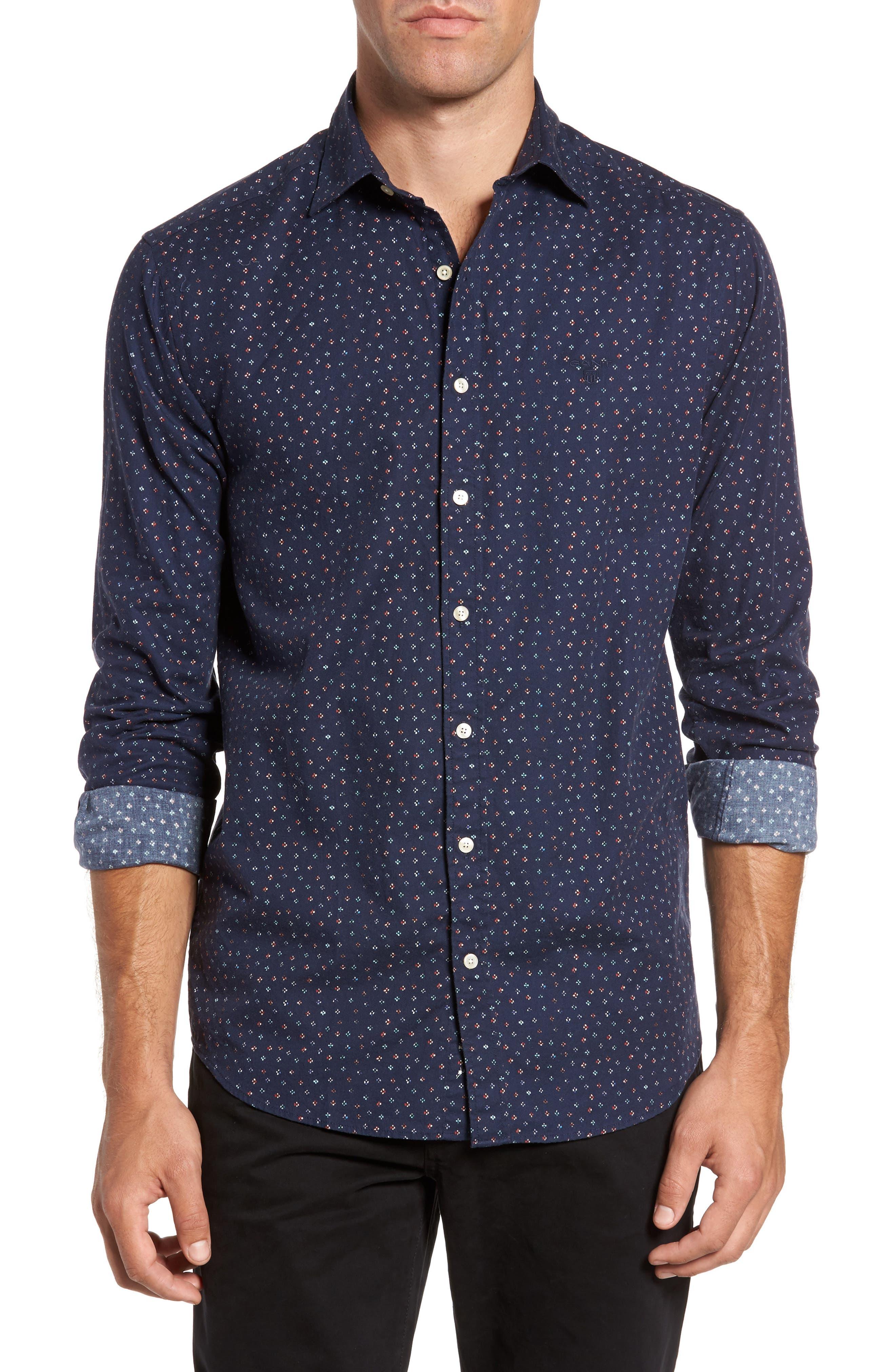 Regular Fit Floral Print Sport Shirt,                         Main,                         color, Evening Blue