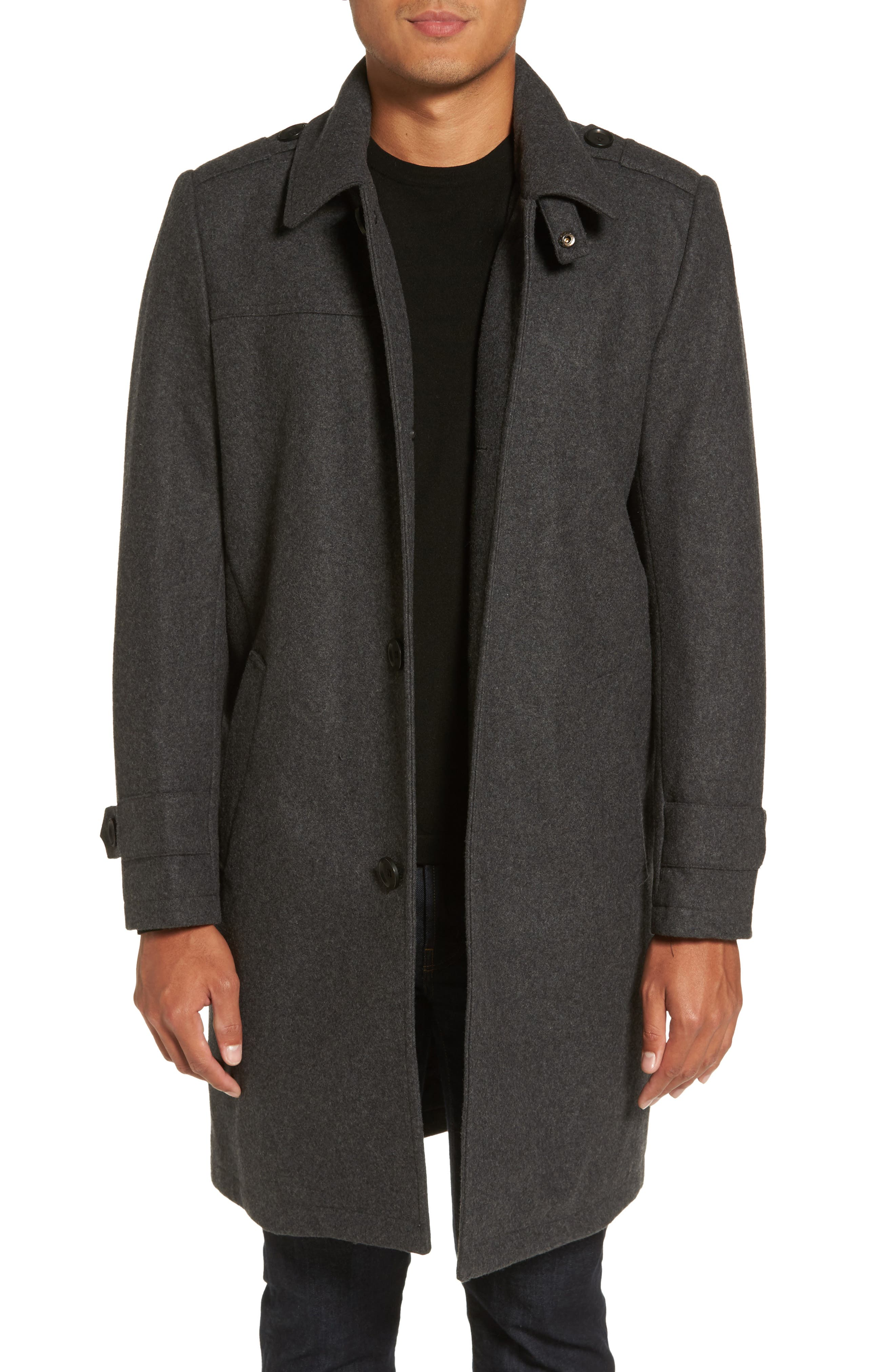 Wool Blend Overcoat,                         Main,                         color, Charcoal