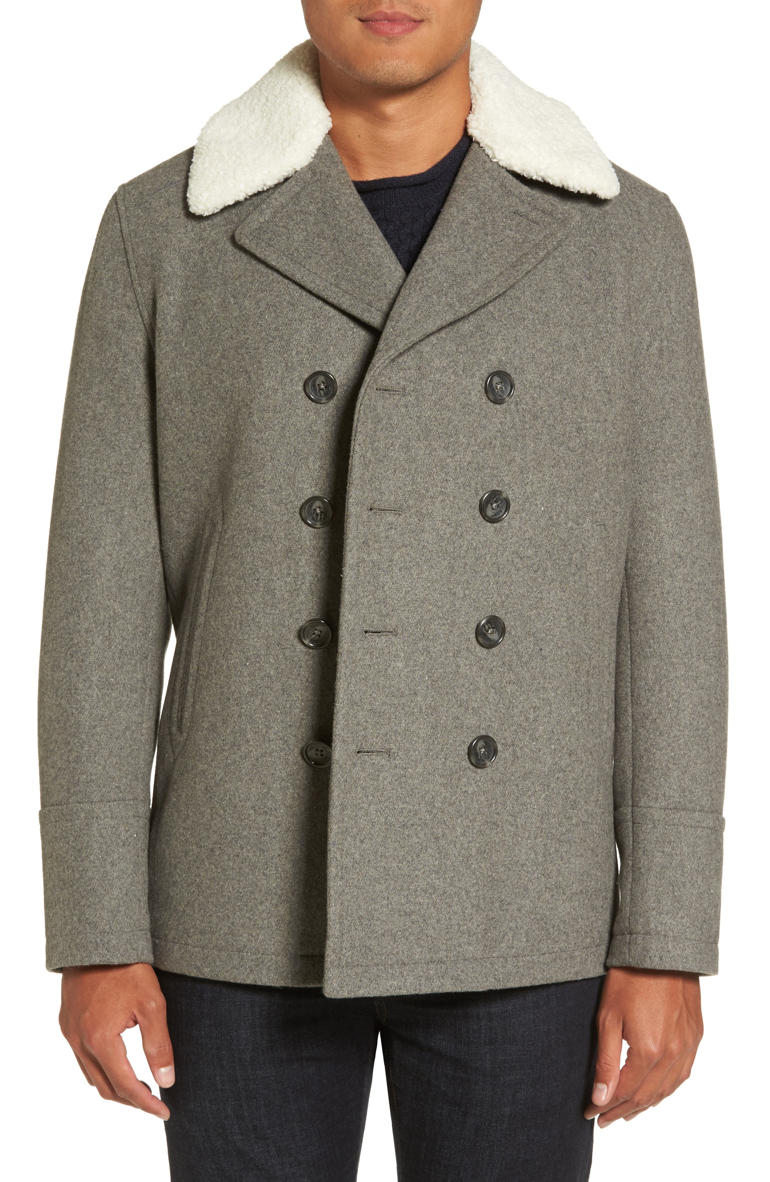 Peacoat with Faux Shearling Collar,                         Main,                         color, Mid Grey Heather