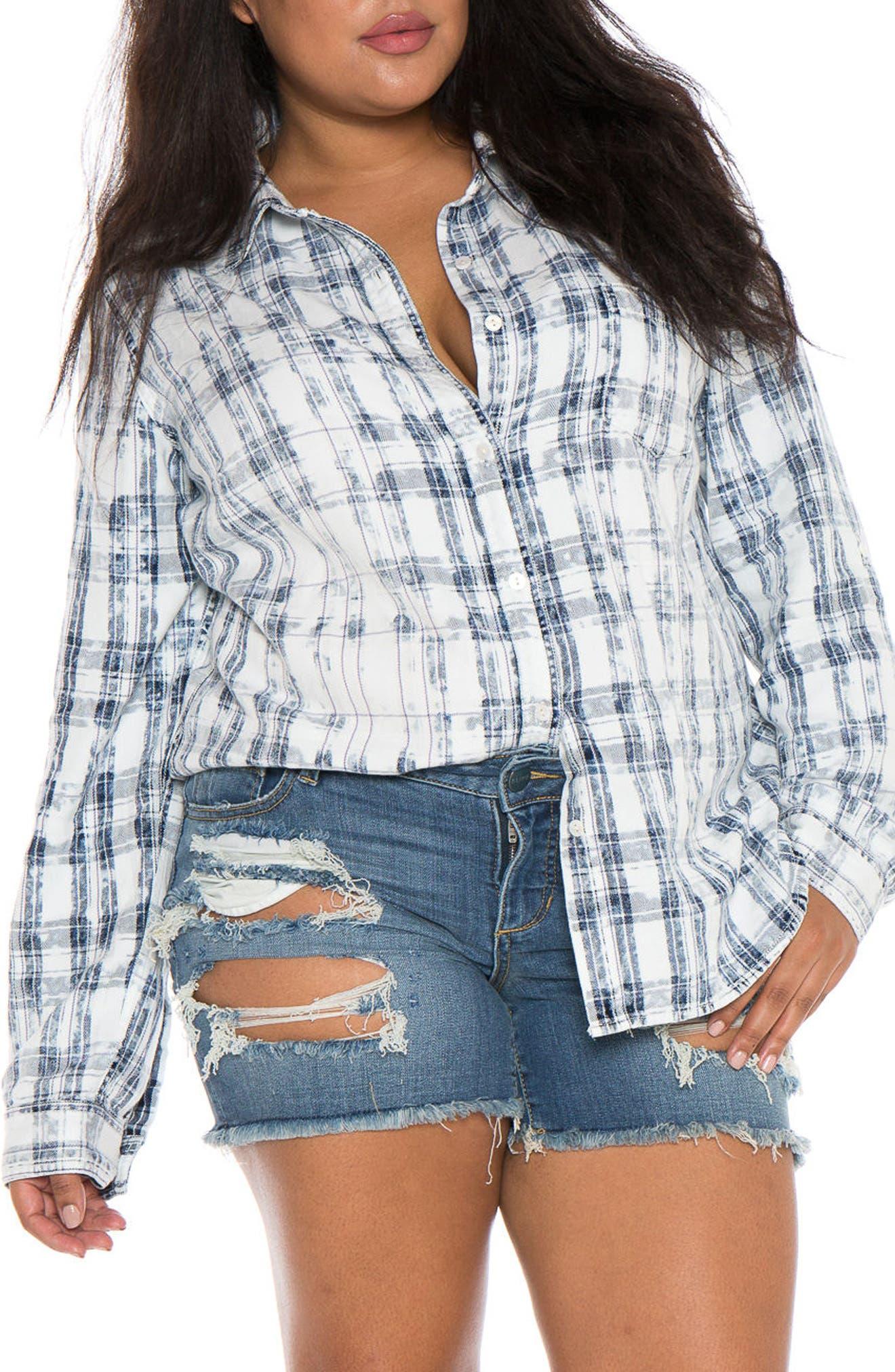 Plaid Western Shirt,                             Alternate thumbnail 4, color,                             White/ Blue