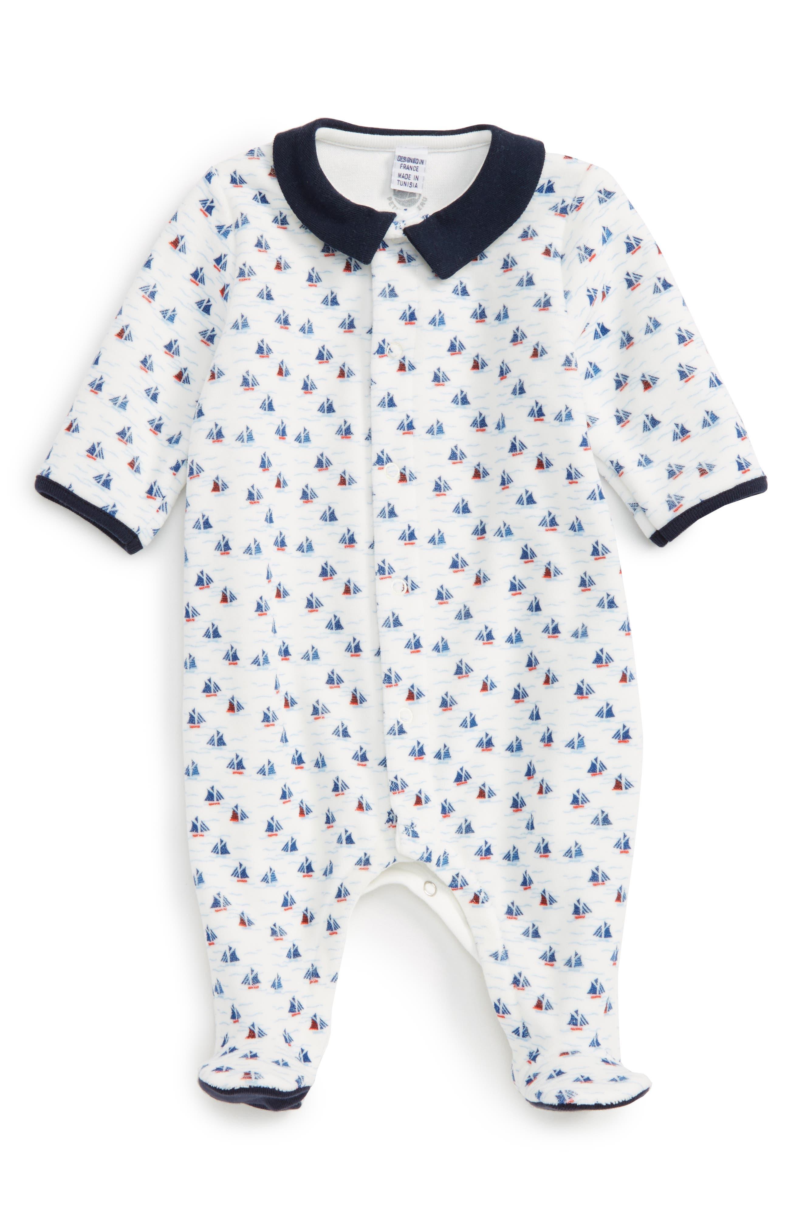 Velour Footie,                         Main,                         color, White/ Navy/ Multi