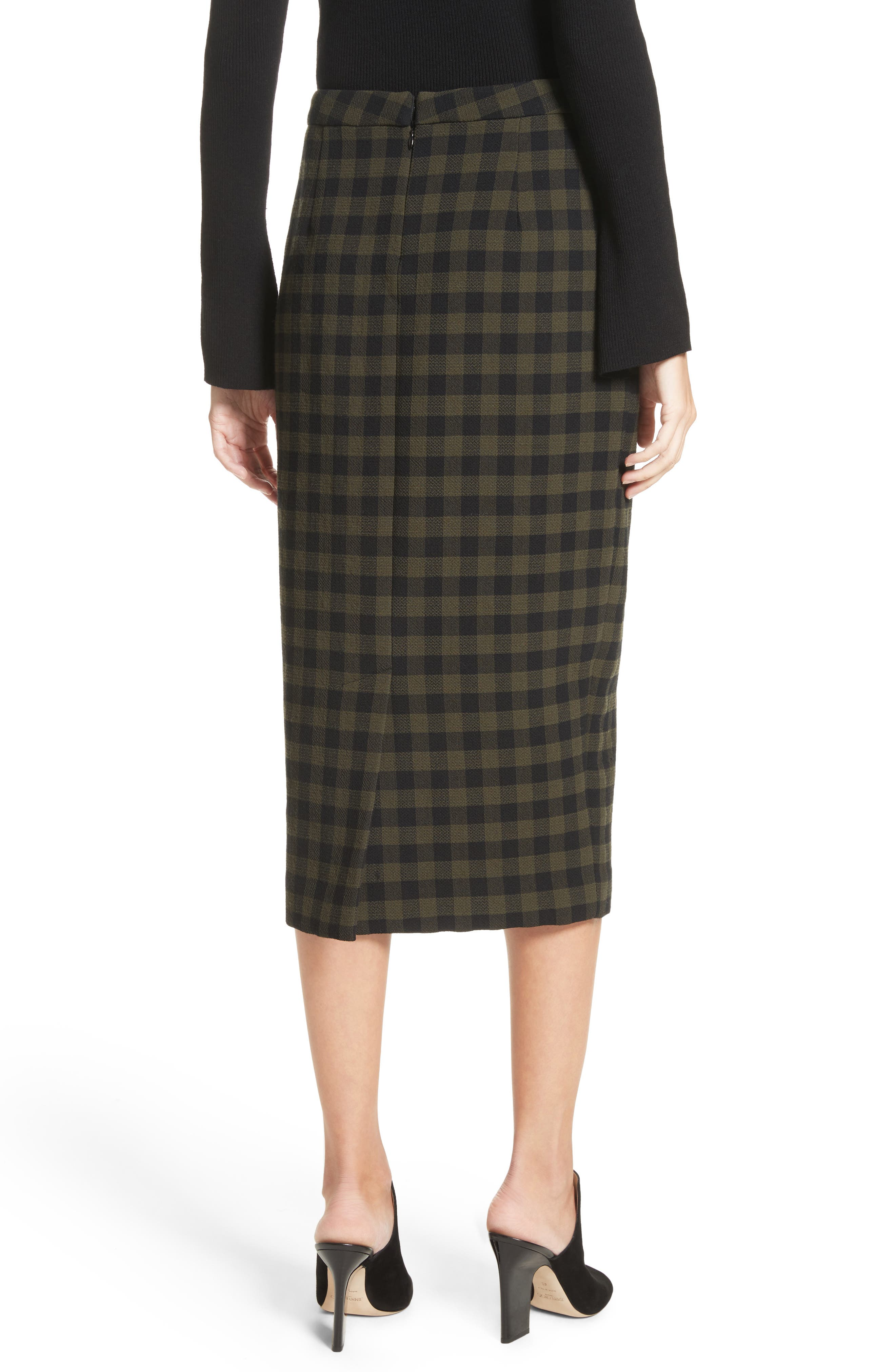 Thea Plaid Wool Pencil Skirt,                             Alternate thumbnail 3, color,                             Army/ Black