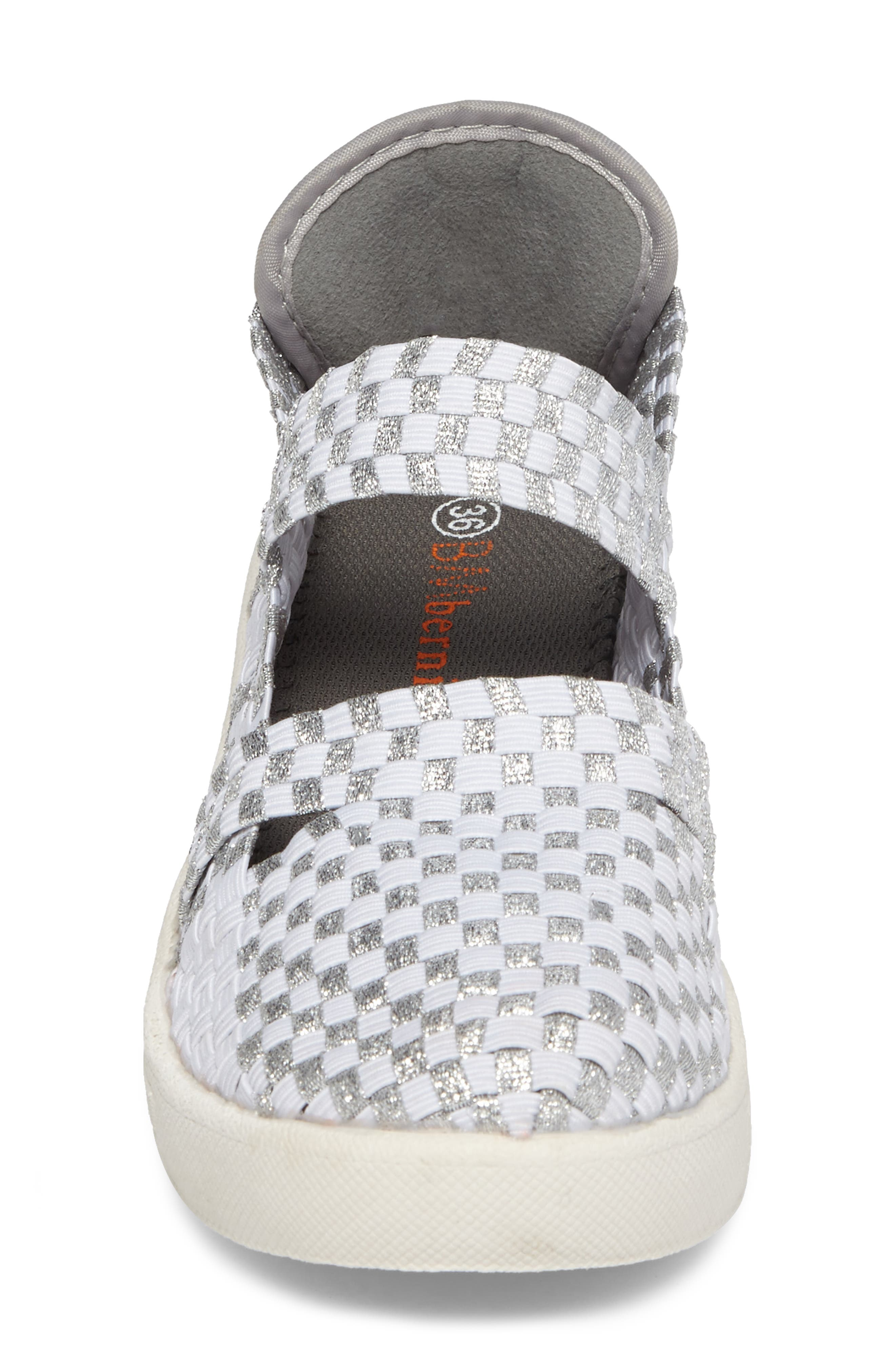 Frontier Woven Mary Jane Wedge,                             Alternate thumbnail 4, color,                             Metallic White/ Silver Fabric