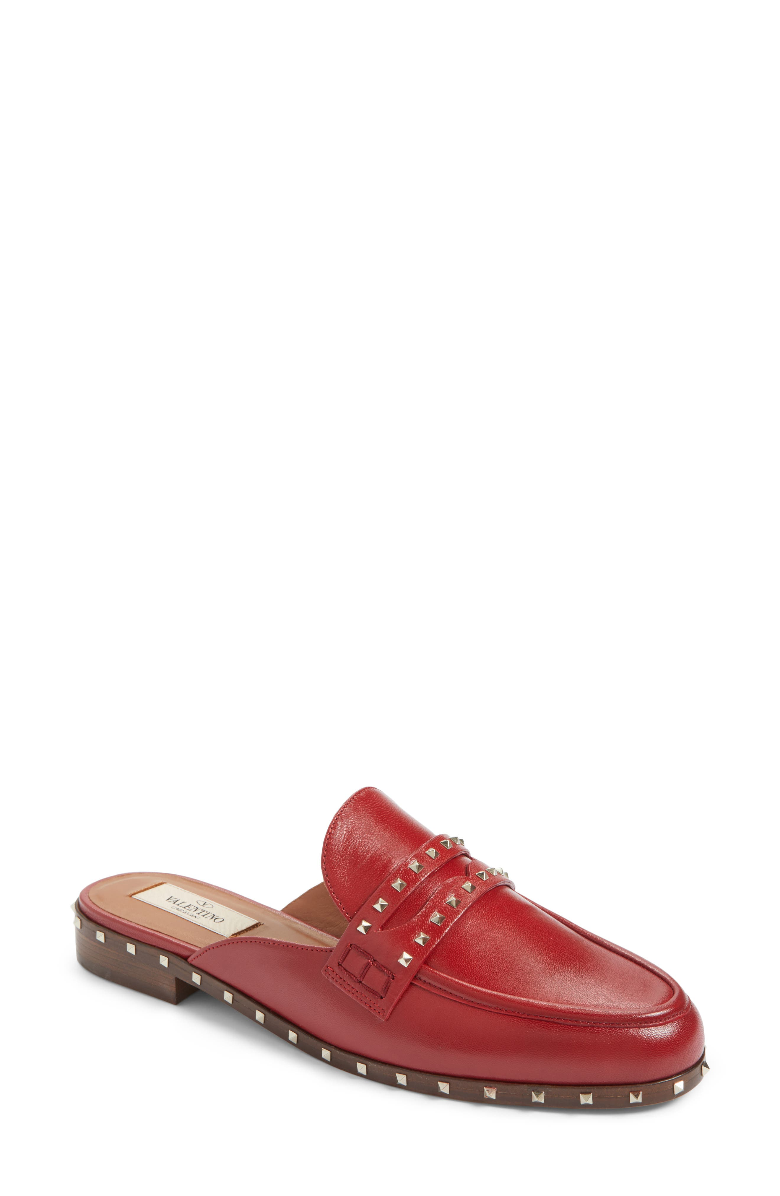 Soul Rockstud Loafer Mule,                             Main thumbnail 1, color,                             Red Leather