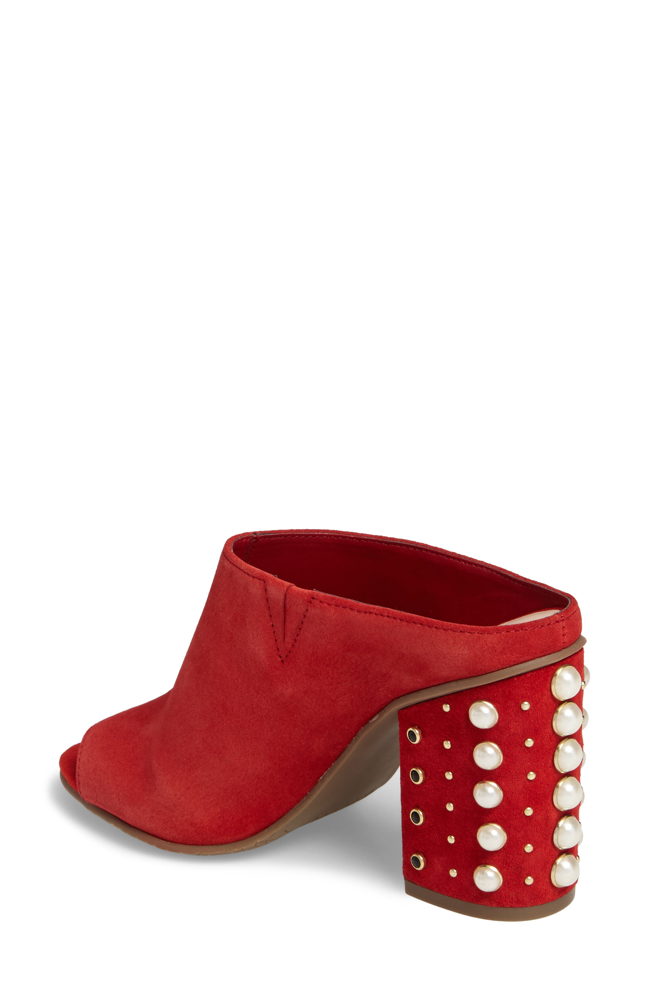 Tabitha Embellished Open Toe Mule,                             Alternate thumbnail 2, color,                             Red Suede