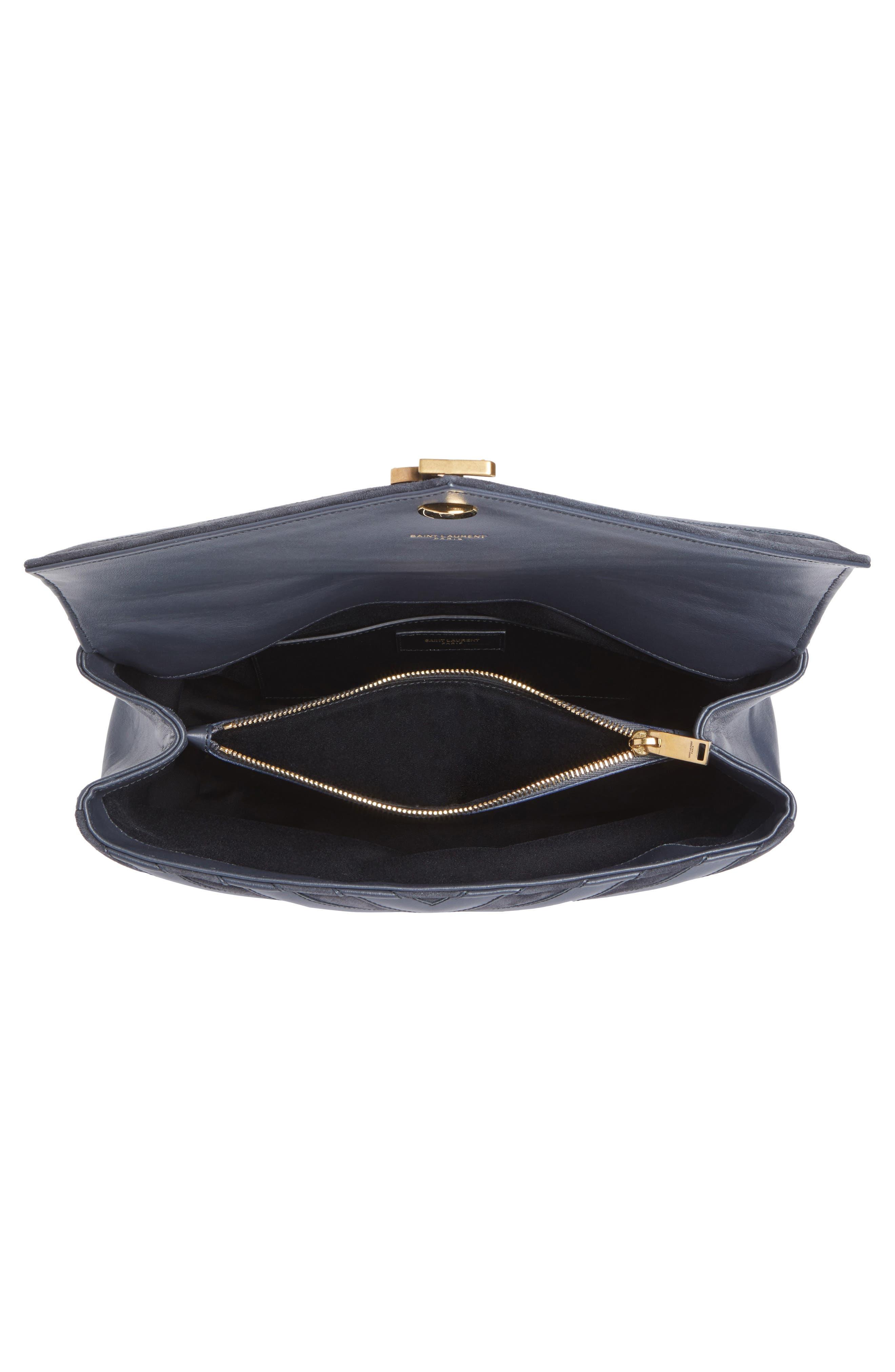 Medium College Patchwork Suede & Leather Shoulder Bag,                             Alternate thumbnail 4, color,                             Graphite