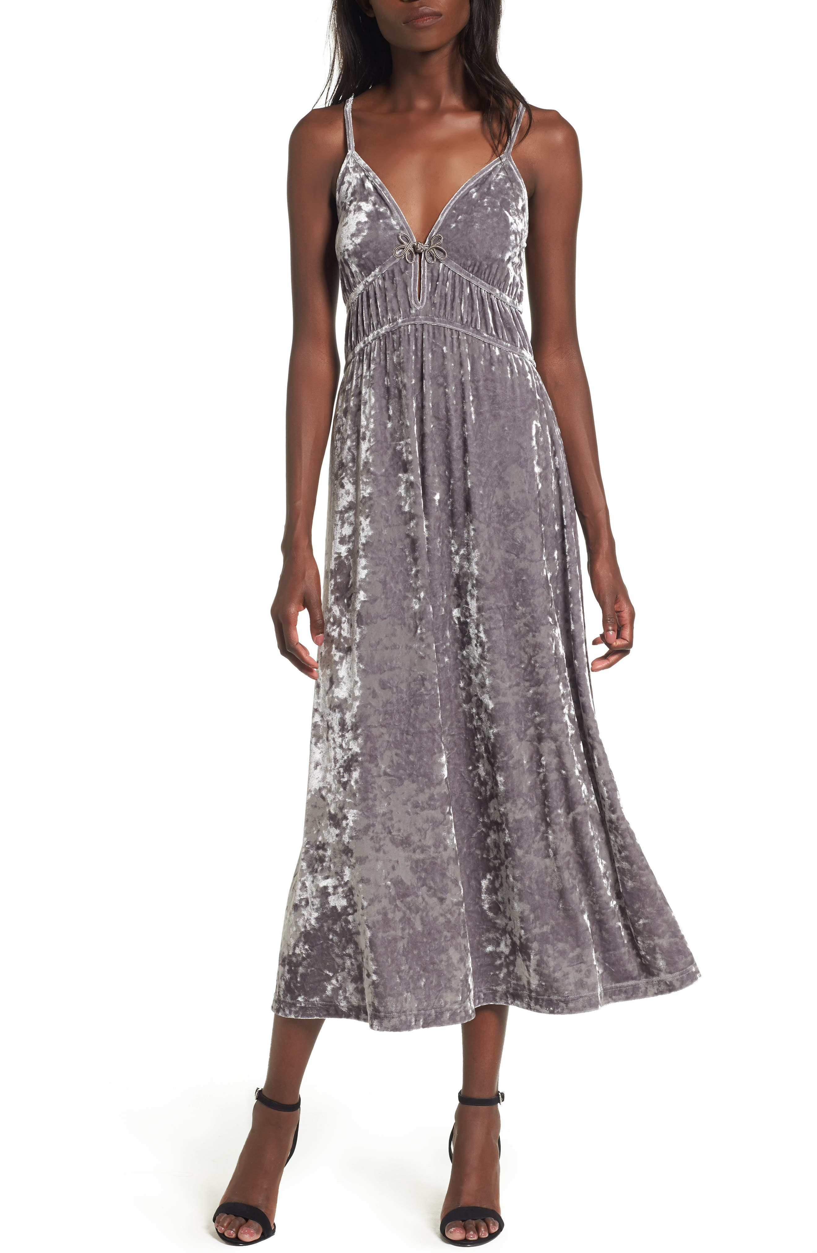 Velour Midi Slipdress,                         Main,                         color, Grey Cloudburst