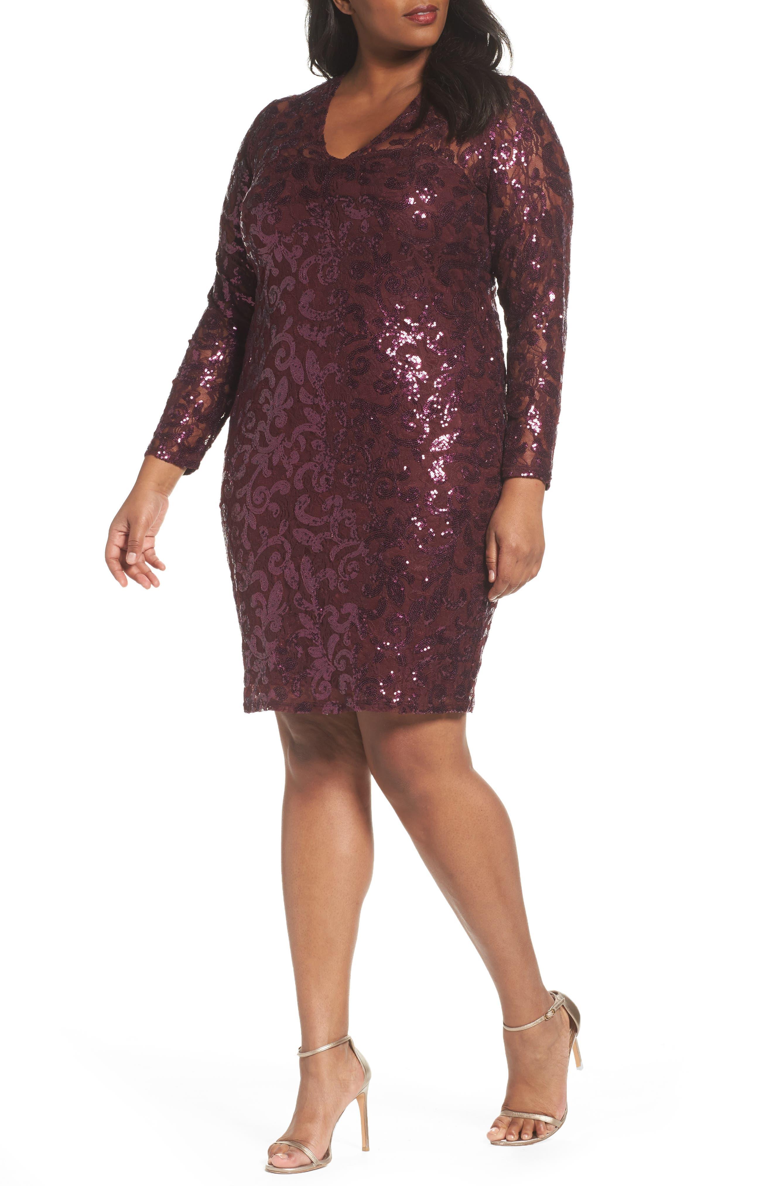 Main Image - Marina Sequin Lace Stretch Sheath Dress (Plus Size)
