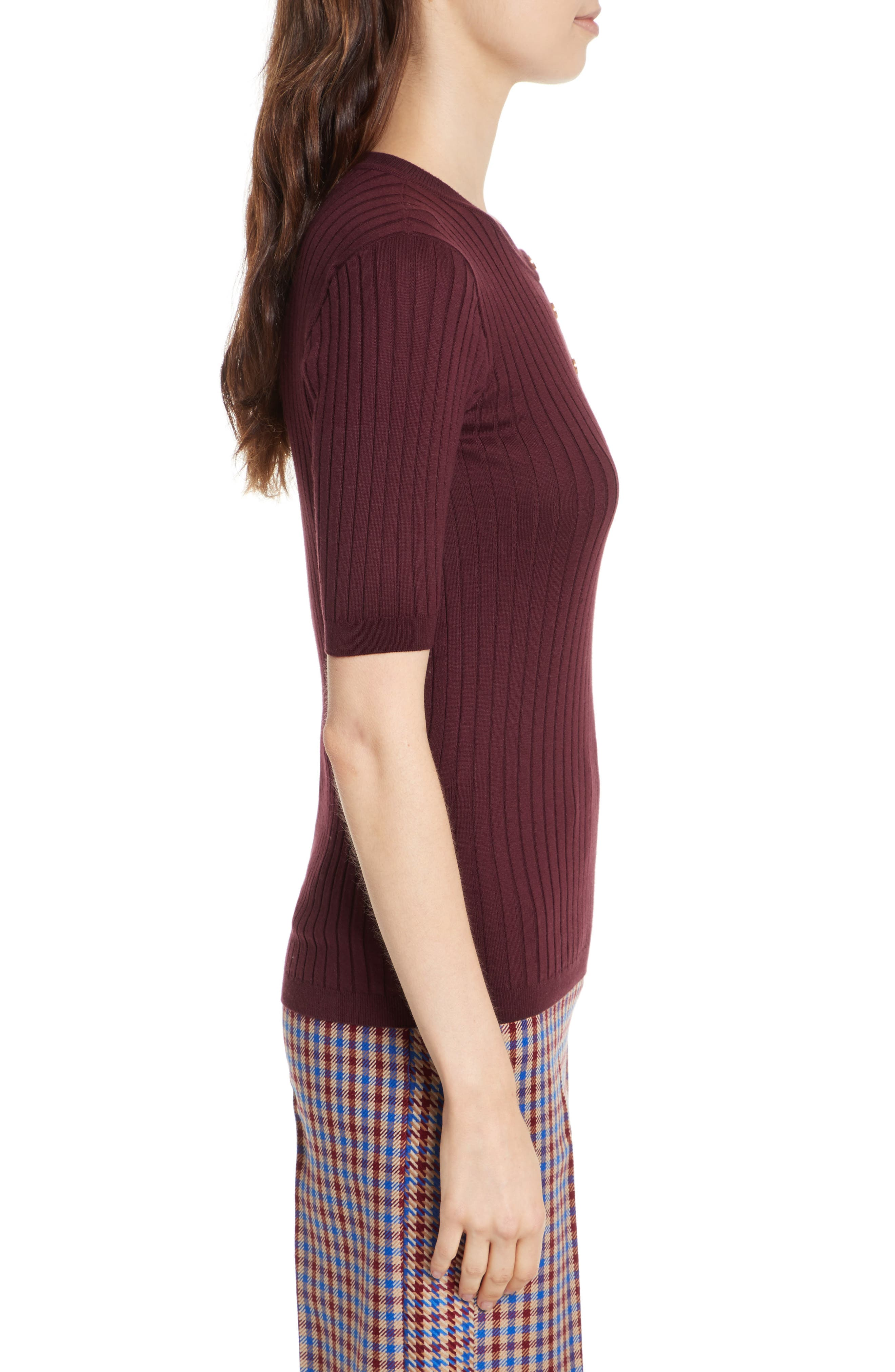 Alternate Image 3  - Tory Burch Ribbed Cotton & Cashmere Henley