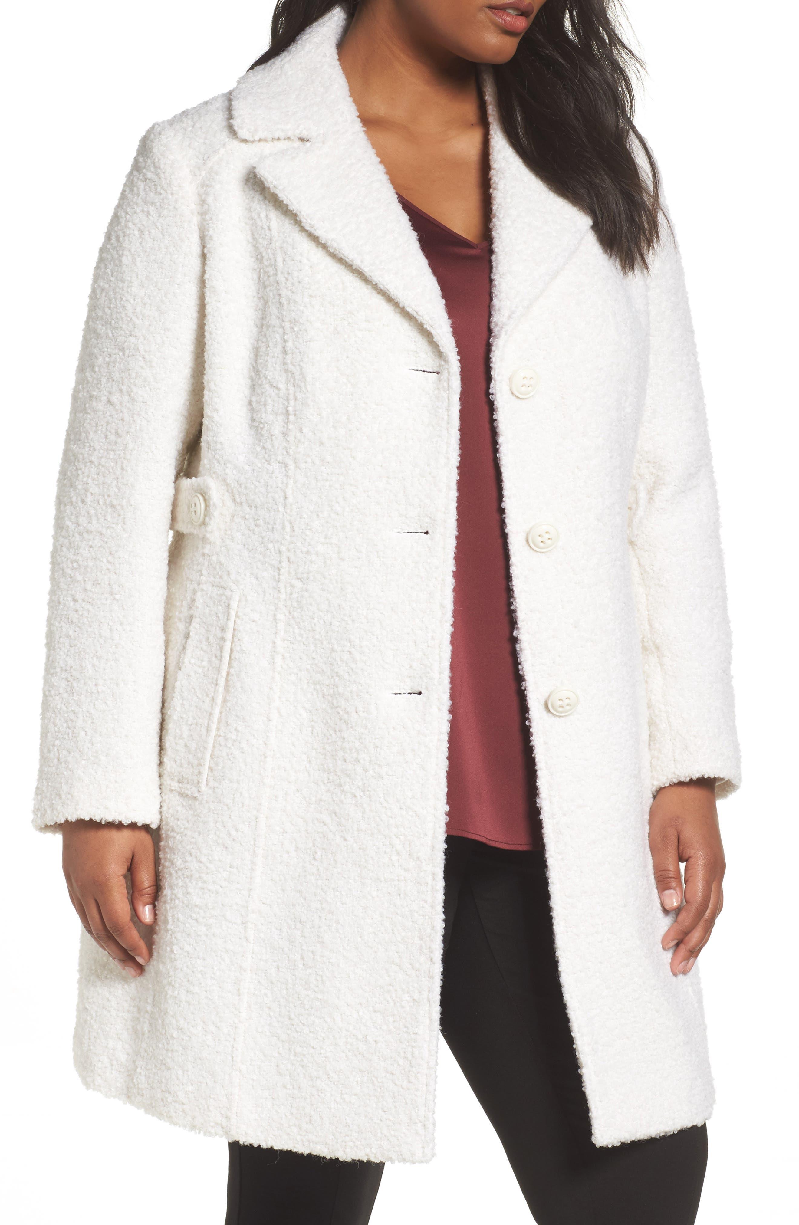 Bouclé Coat,                         Main,                         color, Off White
