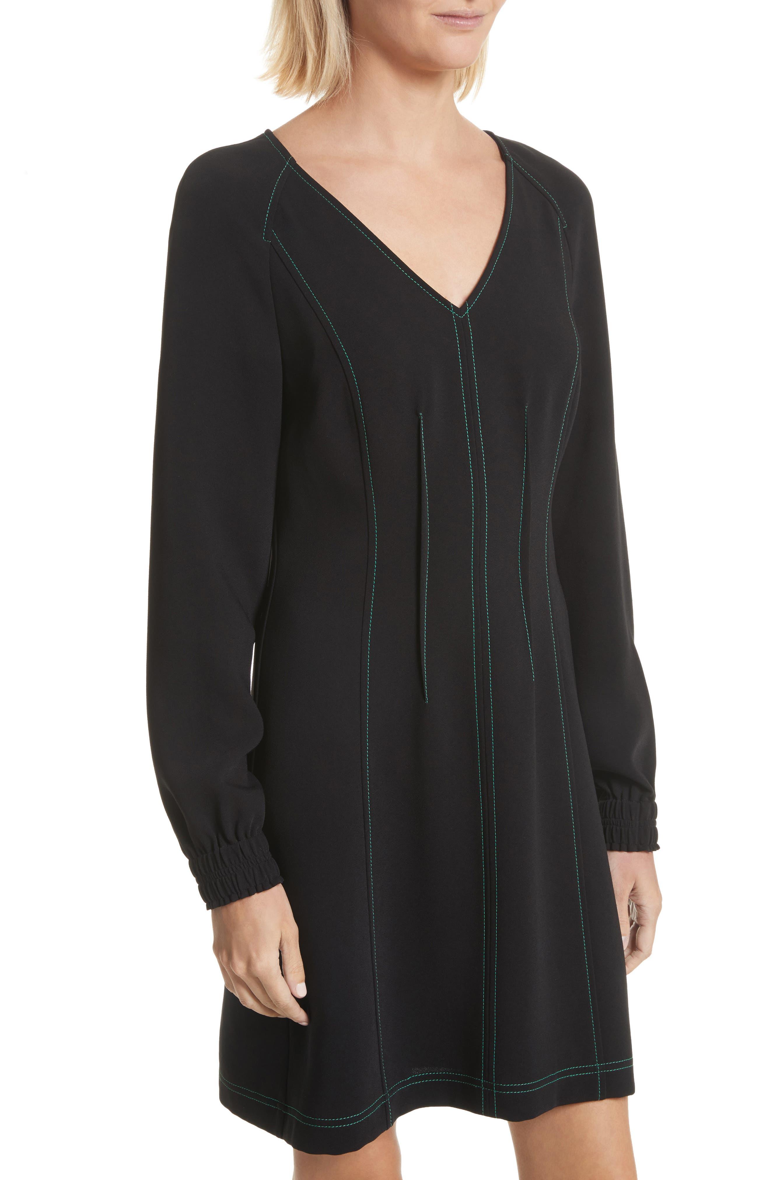Contrast Stitch Dress,                             Alternate thumbnail 4, color,                             Black