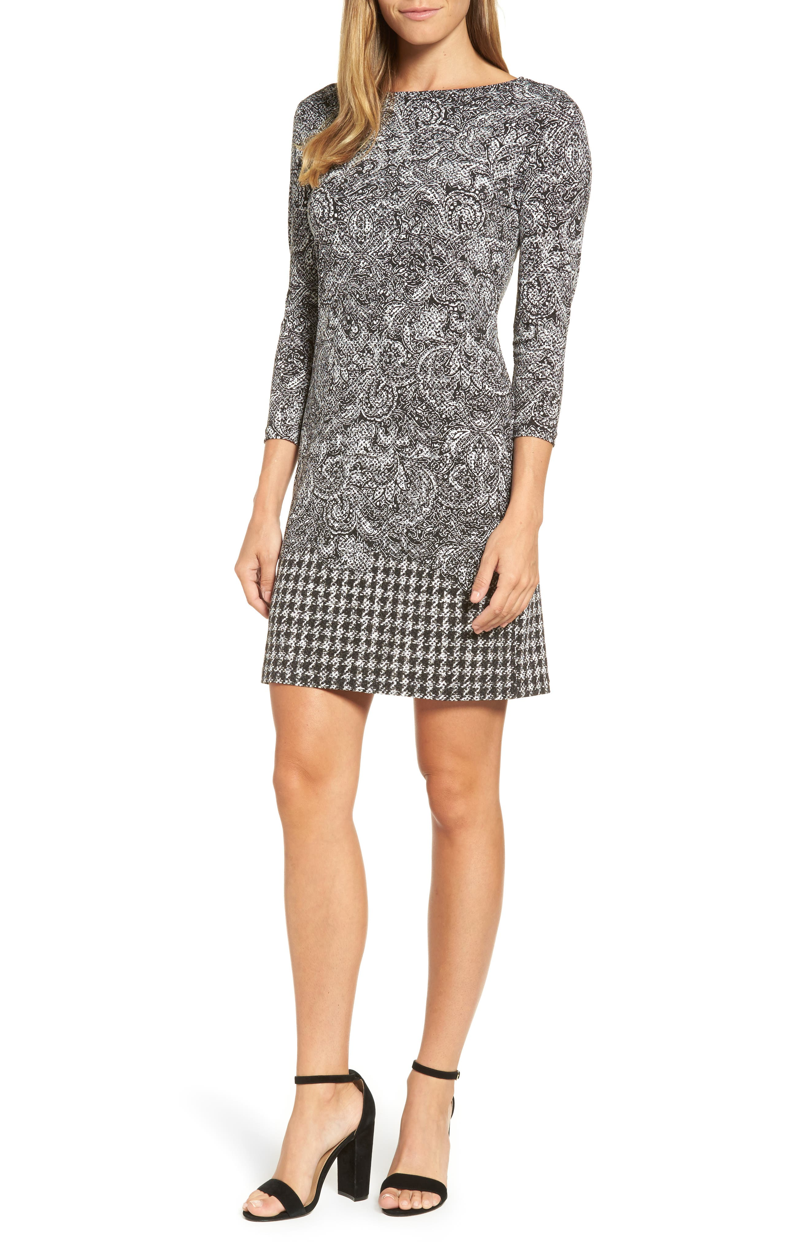 MICHAEL MICHAEL KORS Paisley Houndstooth Print Shift Dress